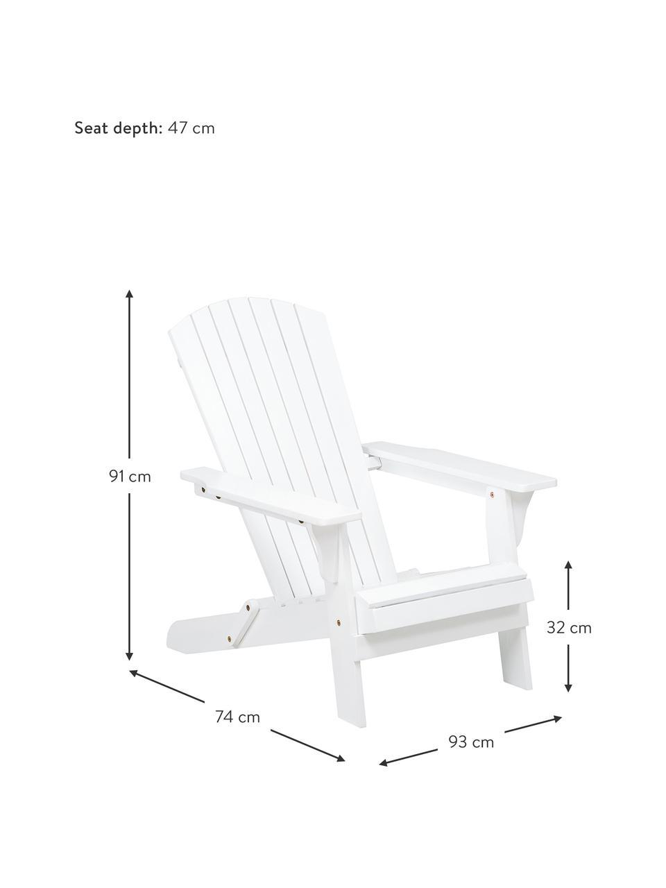 Garten-Loungestuhl Charlie aus Akazienholz in Weiß, Massives Akazienholz, geölt und lackiert, Weiß, B 93 x T 74 cm