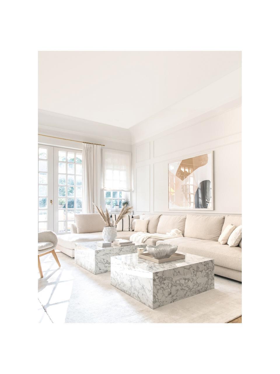 XL hoekbank Tribeca in beige, Bekleding: polyester, Frame: massief grenenhout, Poten: massief gelakt beukenhout, Geweven stof beige, B 405 x D 228 cm