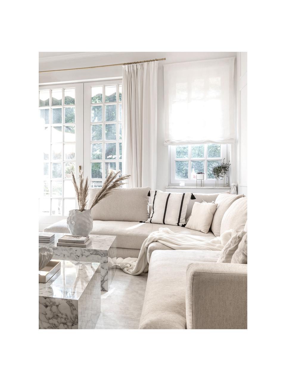 XL hoekbank Tribeca in beige, Bekleding: polyester De bekleding is, Frame: massief grenenhout, Poten: massief gelakt beukenhout, Geweven stof beige, B 405 x D 228 cm