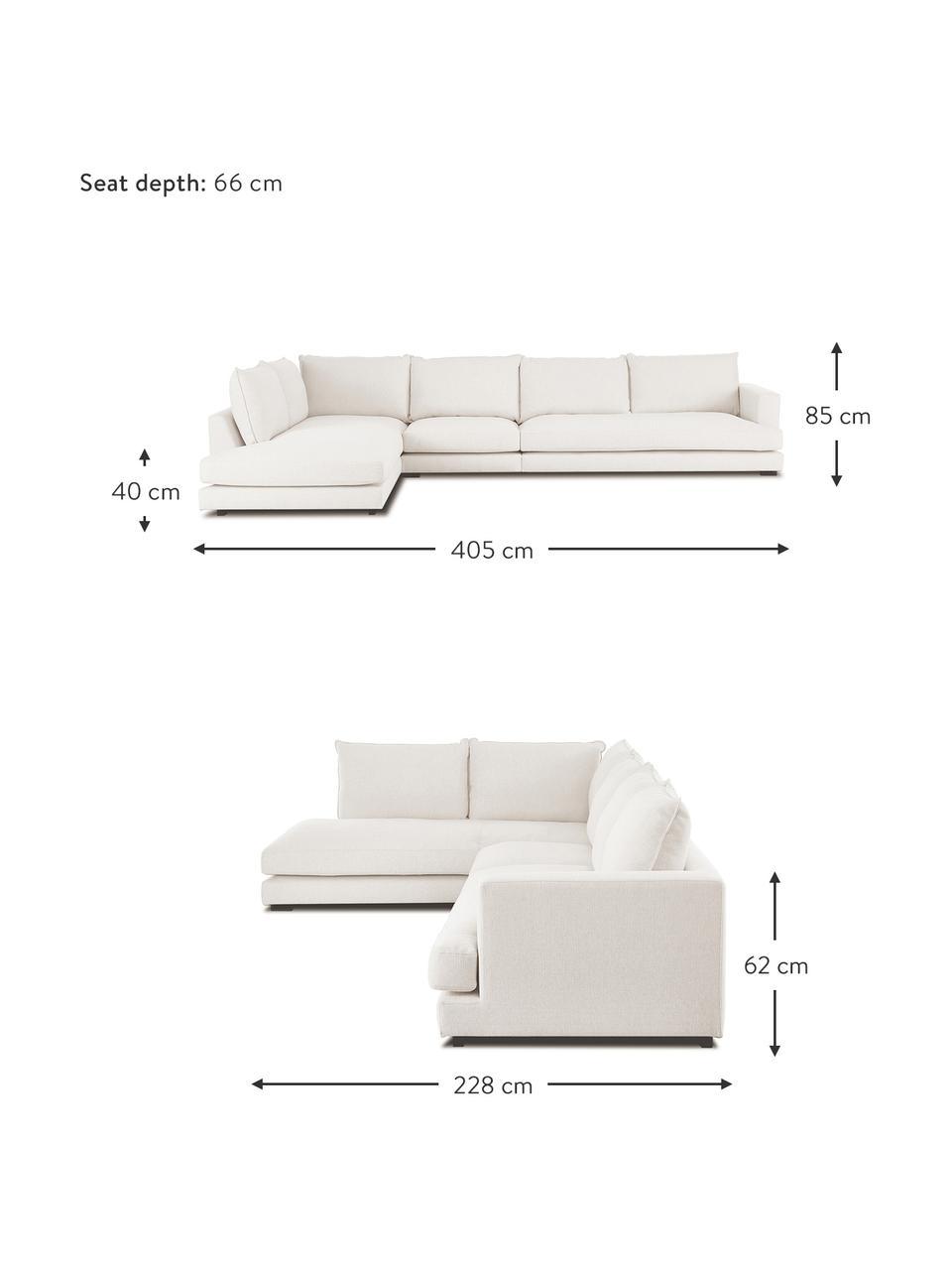 Sofa narożna Tribeca, Tapicerka: poliester Dzięki tkaninie, Nogi: lite drewno bukowe, lakie, Beżowy, S 405 x G 228 cm