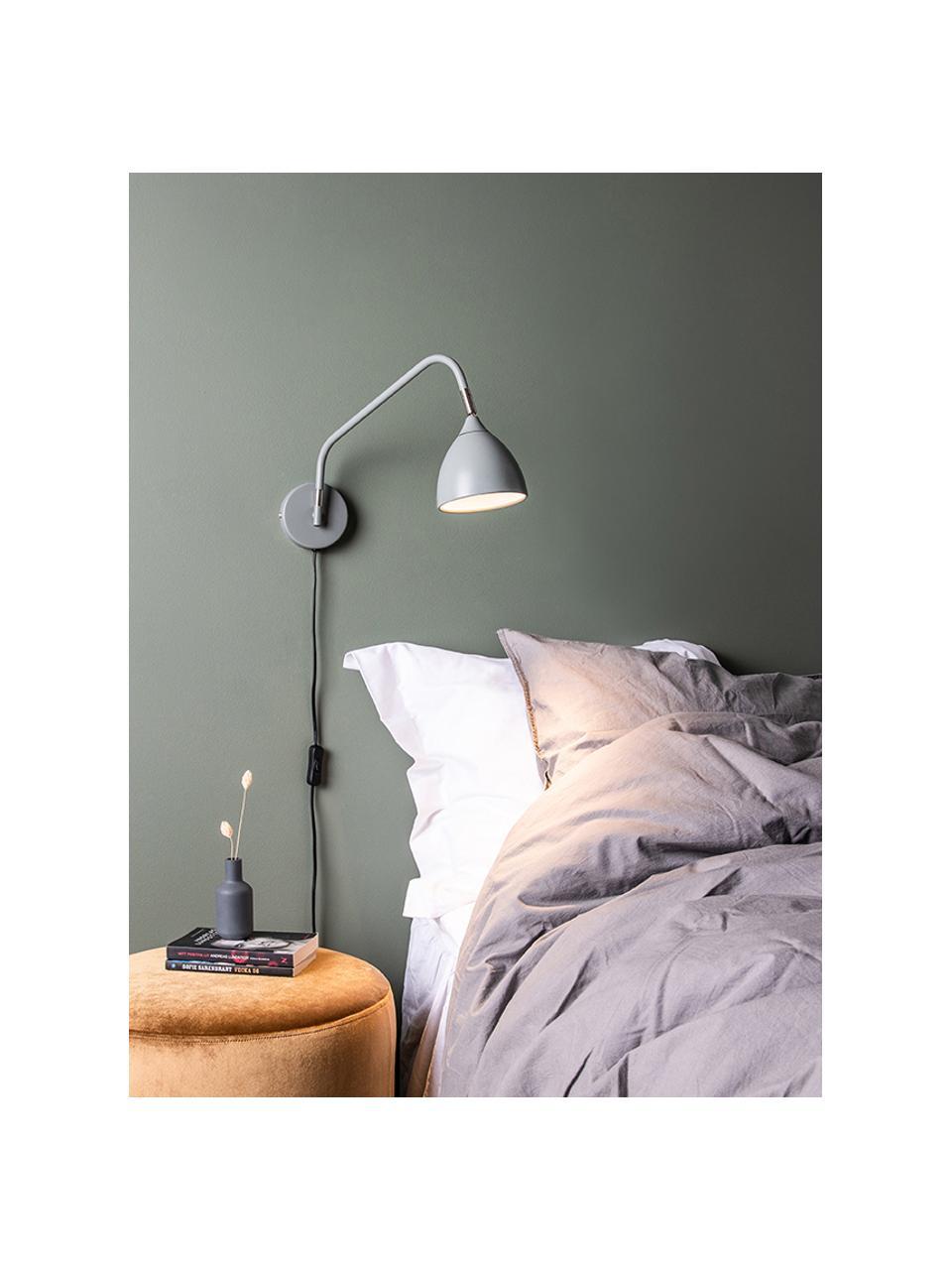 Wandleuchte Valencia mit Stecker, Lampenschirm: Metall, lackiert, Diffusorscheibe: Kunststoff, Dekor: Metall, Grau, 12 x 22 cm