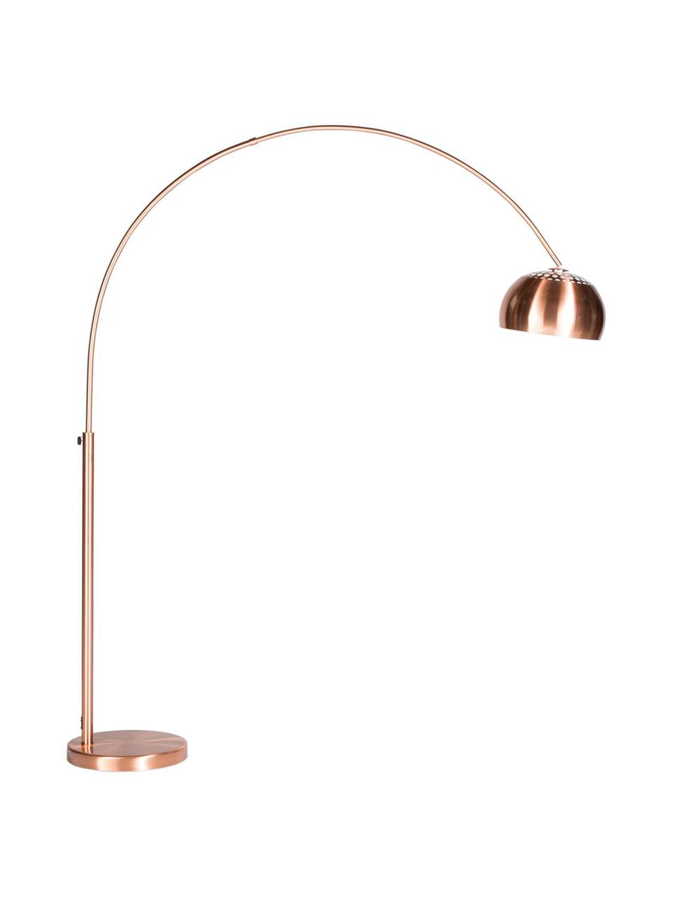 Lampada da terra ad arco regolabile Metal Bow, Base della lampada: pietra con copertura in m, Rame, Larg. 170 x Alt. 205 cm