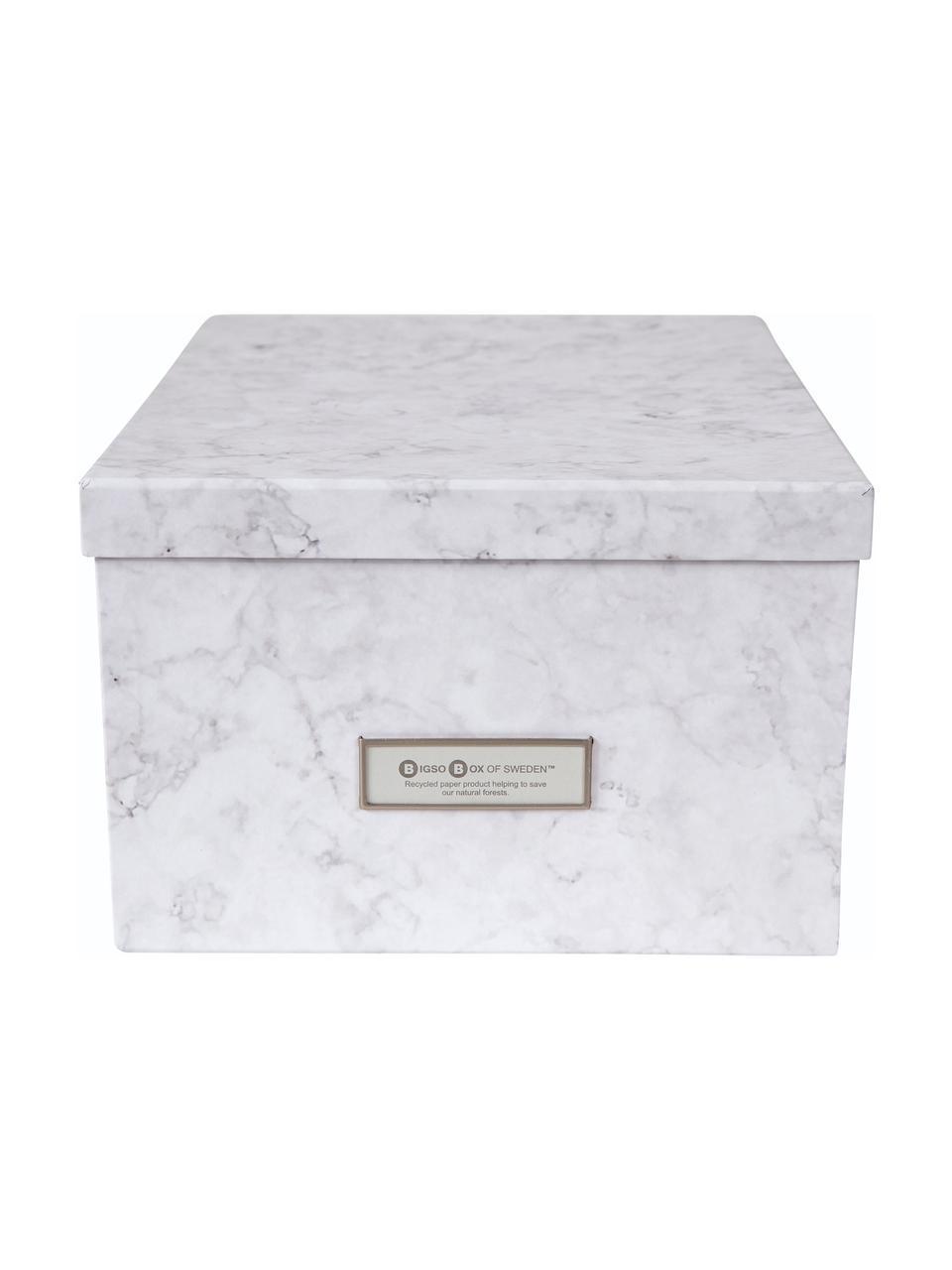Scatola con coperchio Gustav, Scatola: solido cartone laminato, Bianco, marmorizzato, Larg. 30 x Alt. 15 cm