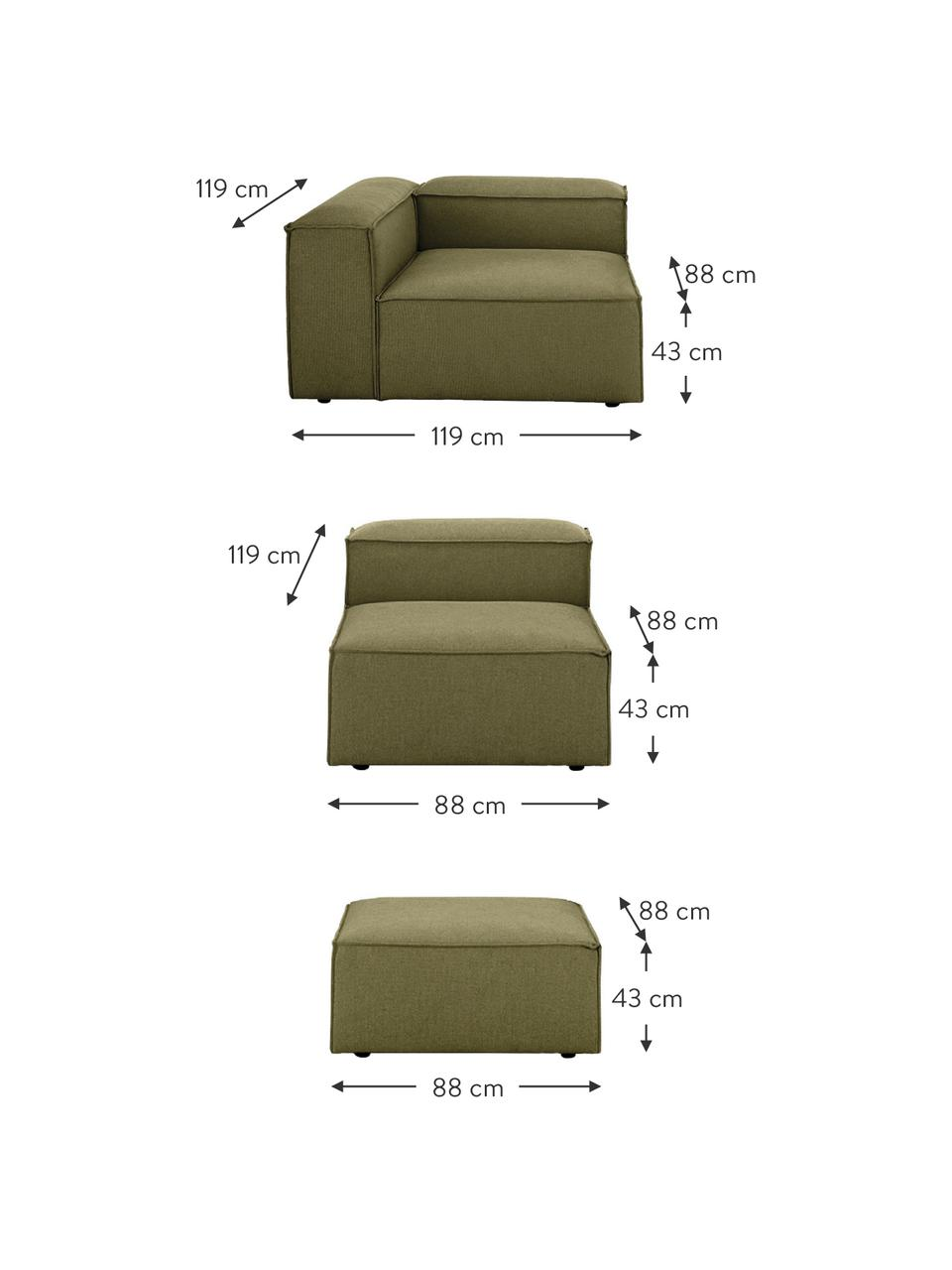 Modulaire hoekbank Lennon in groen, Bekleding: polyester De hoogwaardige, Frame: massief grenenhout, multi, Poten: kunststof De poten bevind, Geweven stof groen, B 327 x D 207 cm