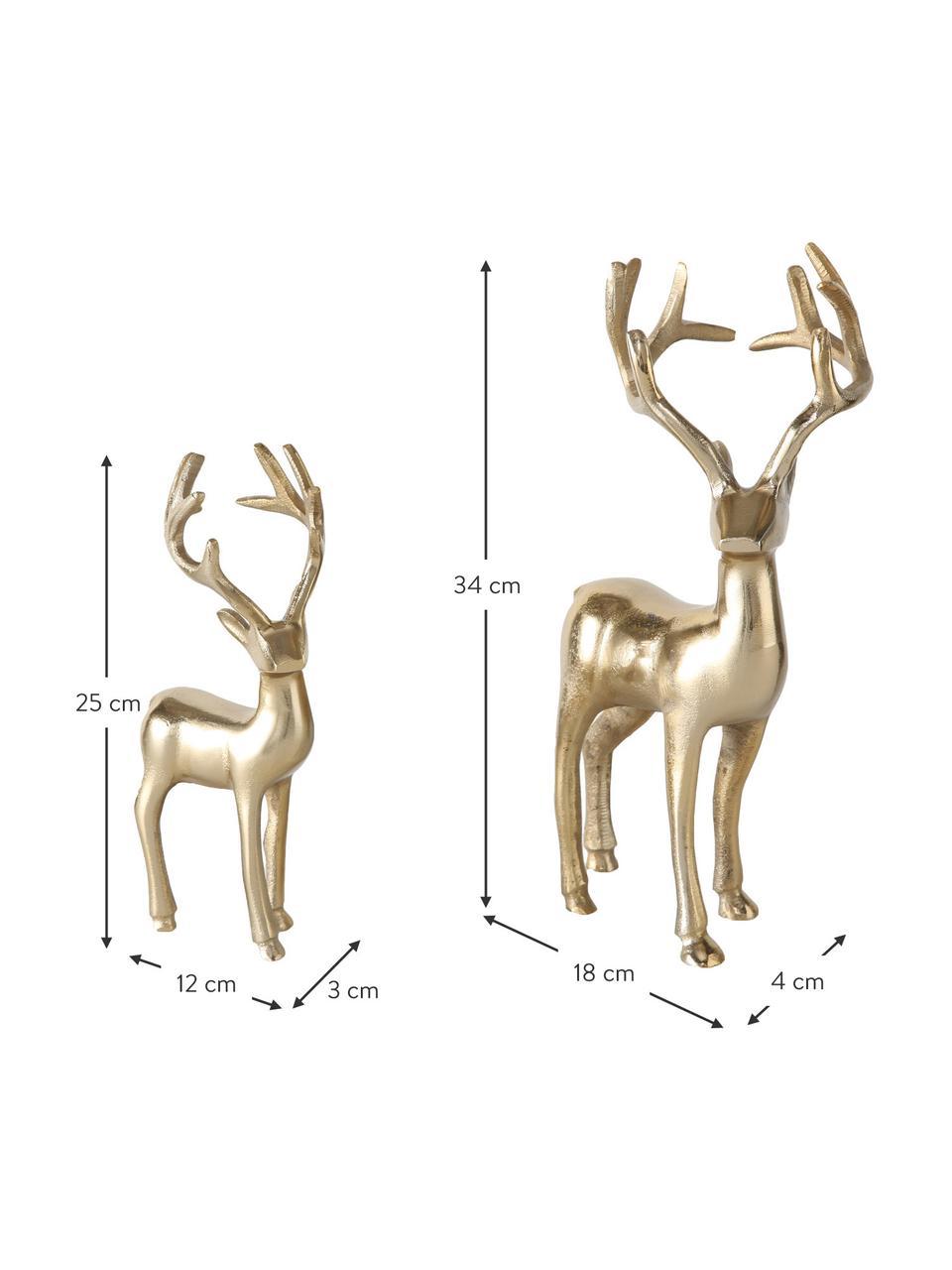 Deko-Hirsche Thielo in Gold, 2 Stück, Aluminium, beschichtet, Messingfarben, Sondergrößen