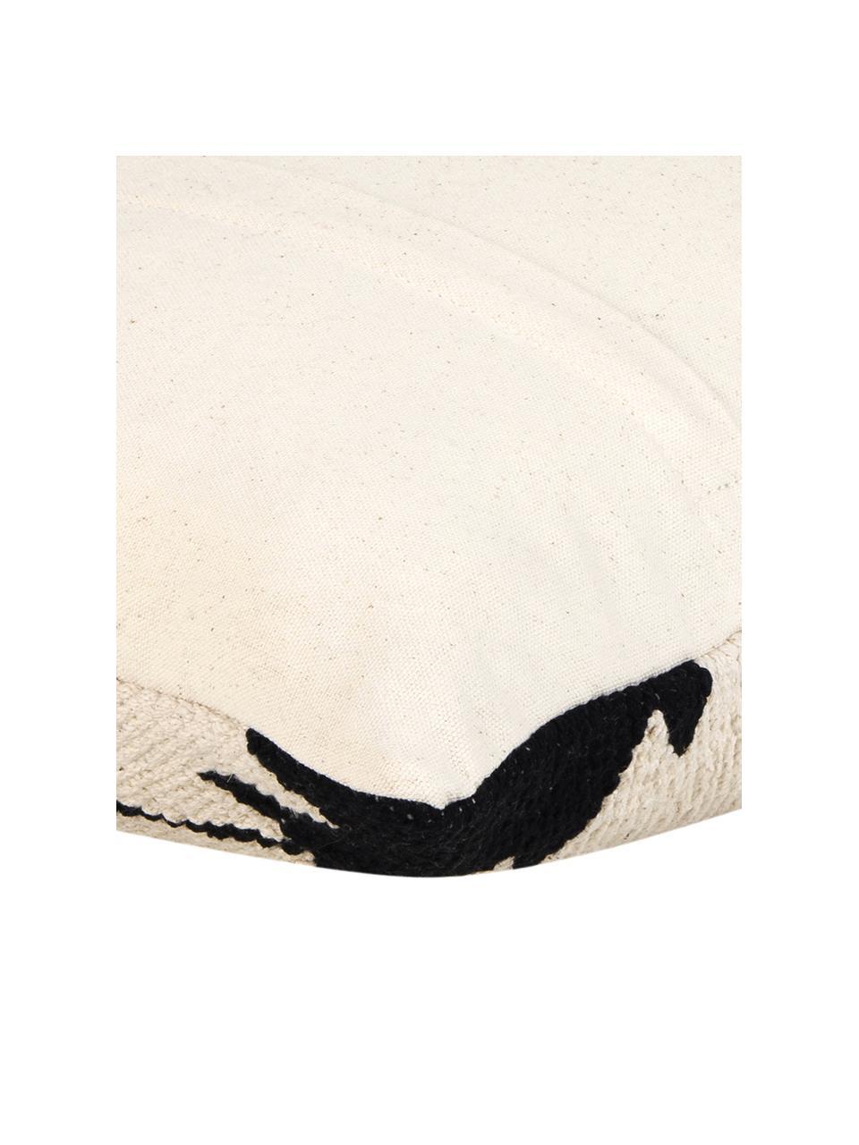 Tkana poszewka na poduszkę w stylu etno Cancun, 100% bawełna, Czarny, beżowy, S 45 x D 45 cm