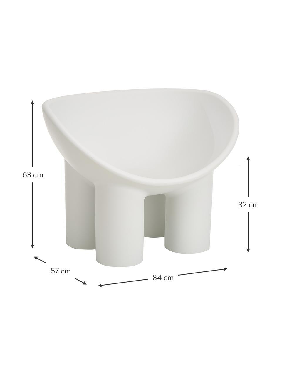 Design fauteuil Roly Poly in lichtgrijs, Polyethyleen, vervaardigd volgens het rotatiegietprocédé, Lichtgrijs, 84 x 57 cm