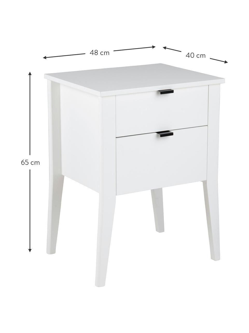 Wit nachtkastje Sleepy met lades, Frame: gelakt MDF, Wit, 48 x 65 cm