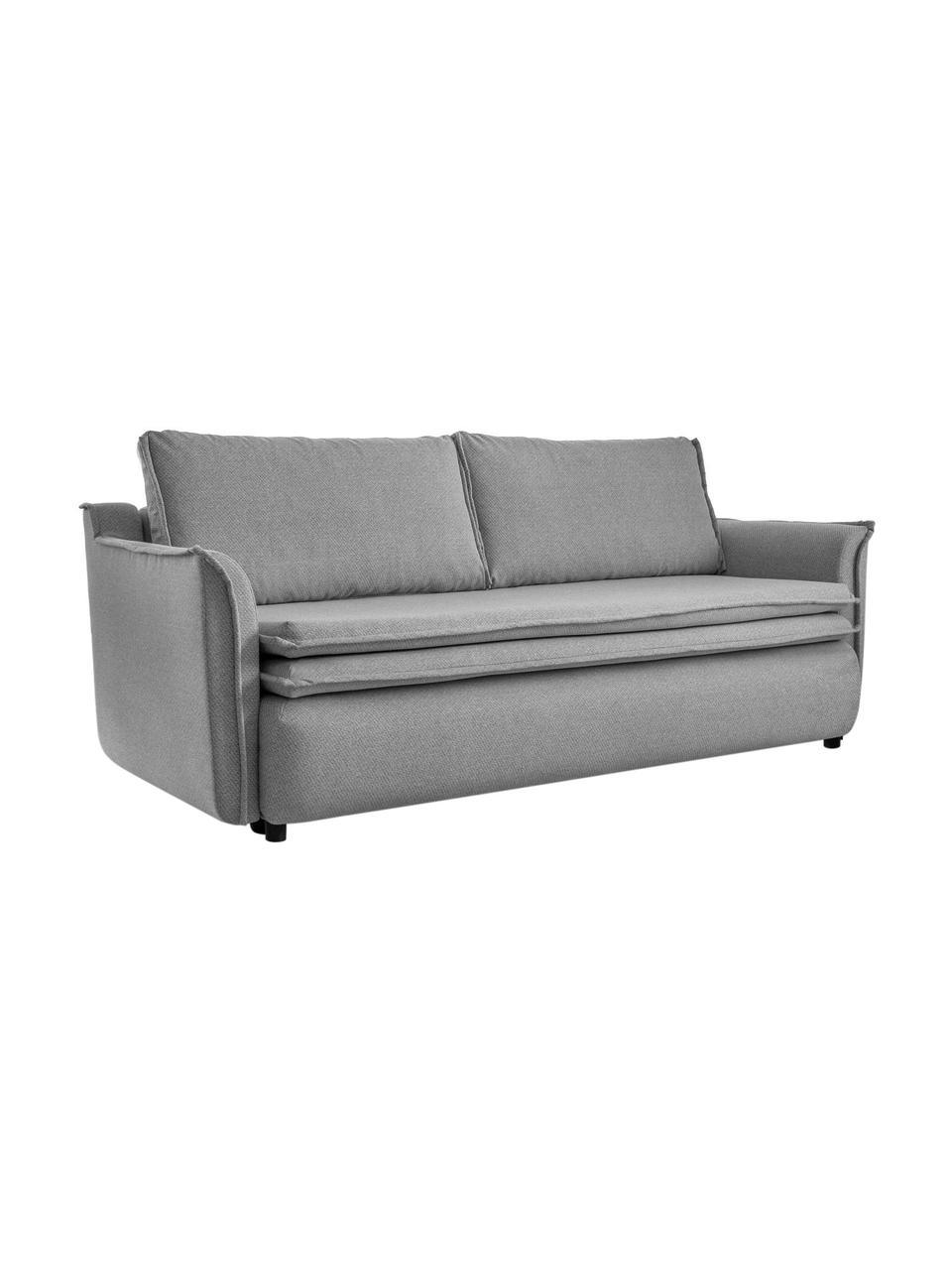 Divano letto in tessuto grigio con contenitore Charming Charlie, Rivestimento: 100% poliestere con sensa, Grigio, Larg. 225 x Prof. 85 cm