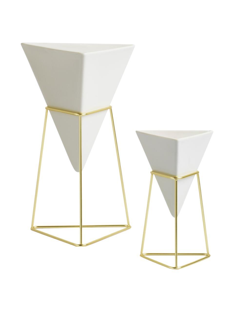 Vasen-Set Trigg, 2-tlg., Vasenhalter: Metall, vermessingt, Aufbewahrung: Weiß Aufhängung: Messing, Sondergrößen