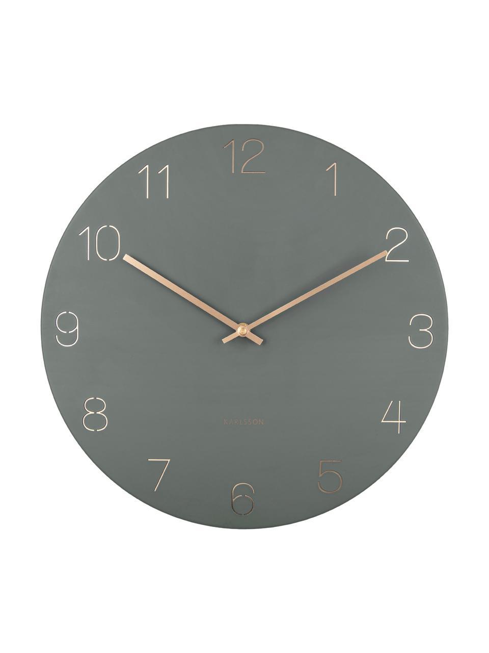Wanduhr Charm, Metall, beschichtet, Grün, Messingfarben, Ø 40 cm