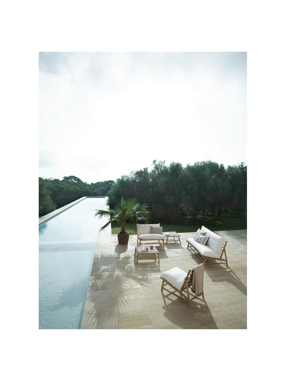 Fotel wypoczynkowy z drewna bambusowego Bamslow, Stelaż: drewno bambusowe, Tapicerka: 100% bawełna, Biały, brązowy, S 55 x G 87 cm