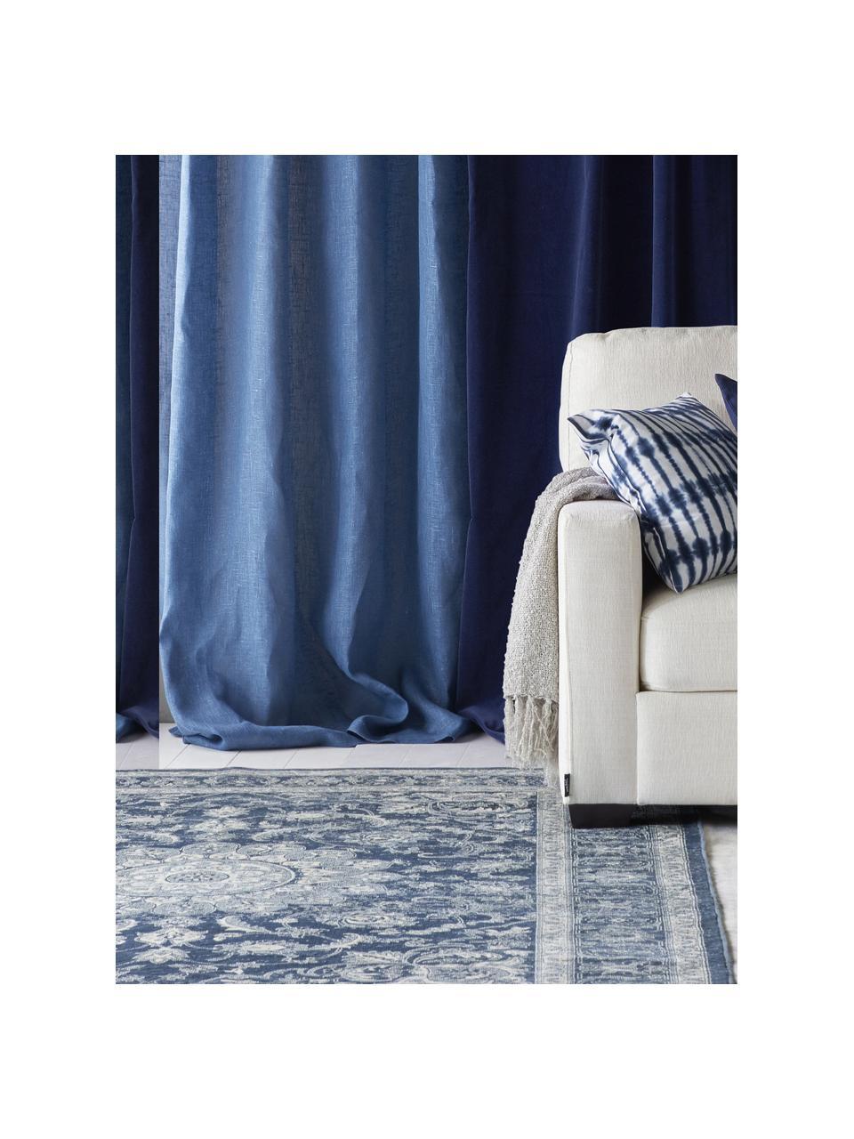 Dywan z wiskozy w stylu vintage Tortona, 70% wiskoza, 30% bawełna, Niebieski, odcienie kremowego, S 140 x D 200 cm (Rozmiar S)