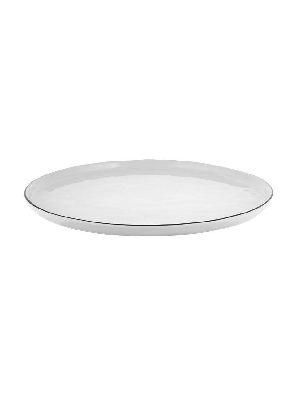 Handgemachte Speiseteller Salt mit schwarzem Rand, 4 Stück, Porzellan, Gebrochenes Weiss, Schwarz, Ø 28 cm