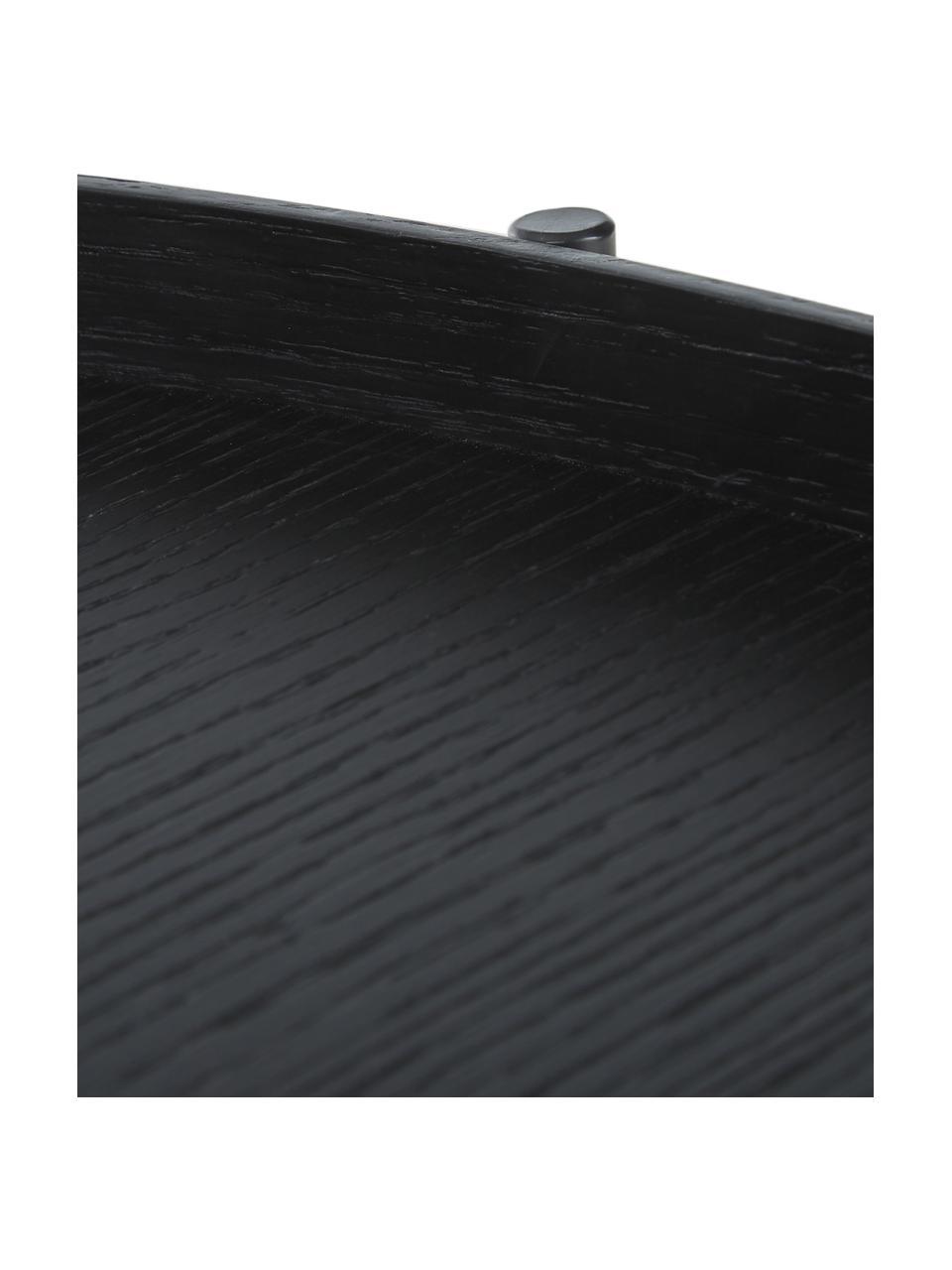 Grote houten salontafel Renee in zwart, Frame: Gepoedercoat metaal, Tafelbladen: zwart. Frame: mat zwart, Ø 90 x H 39 cm