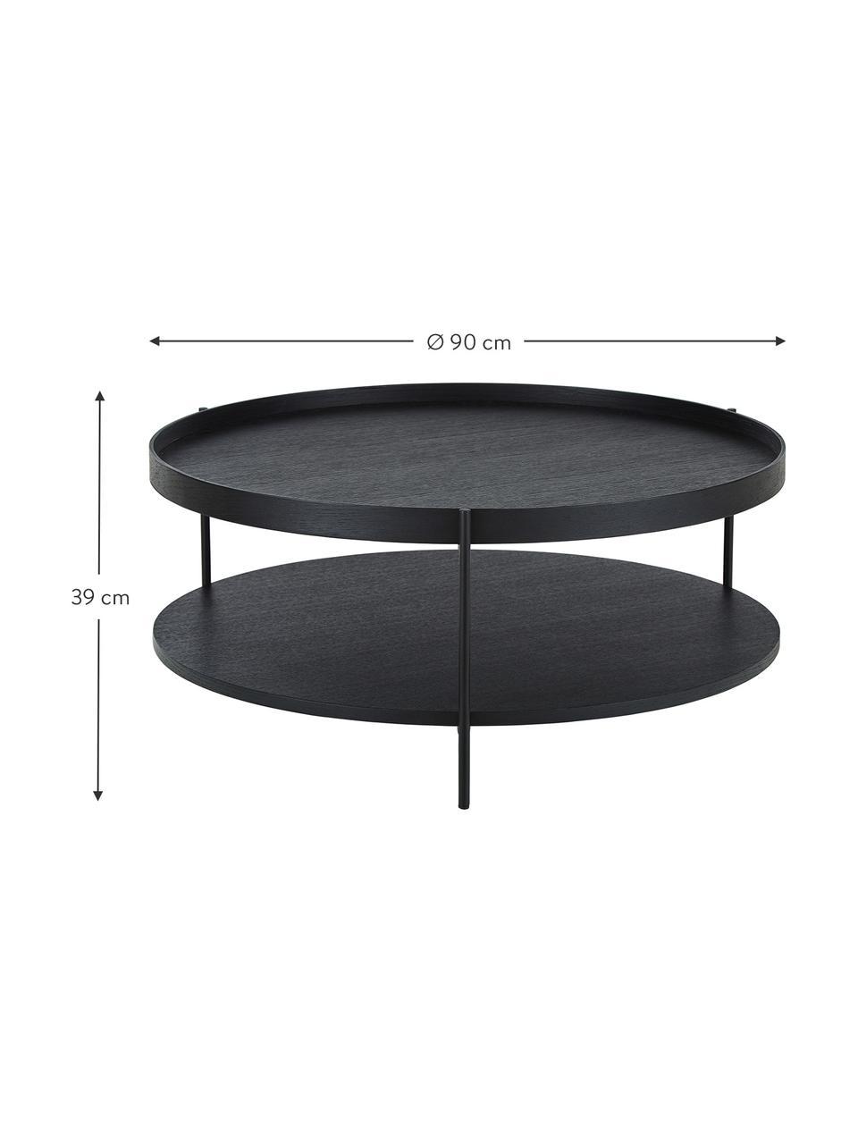 Großer Couchtisch Renee mit Ablagefach, Gestell: Metall, pulverbeschichtet, Tischplatten: SchwarzGestell: Schwarz, matt, Ø 90 x H 39 cm