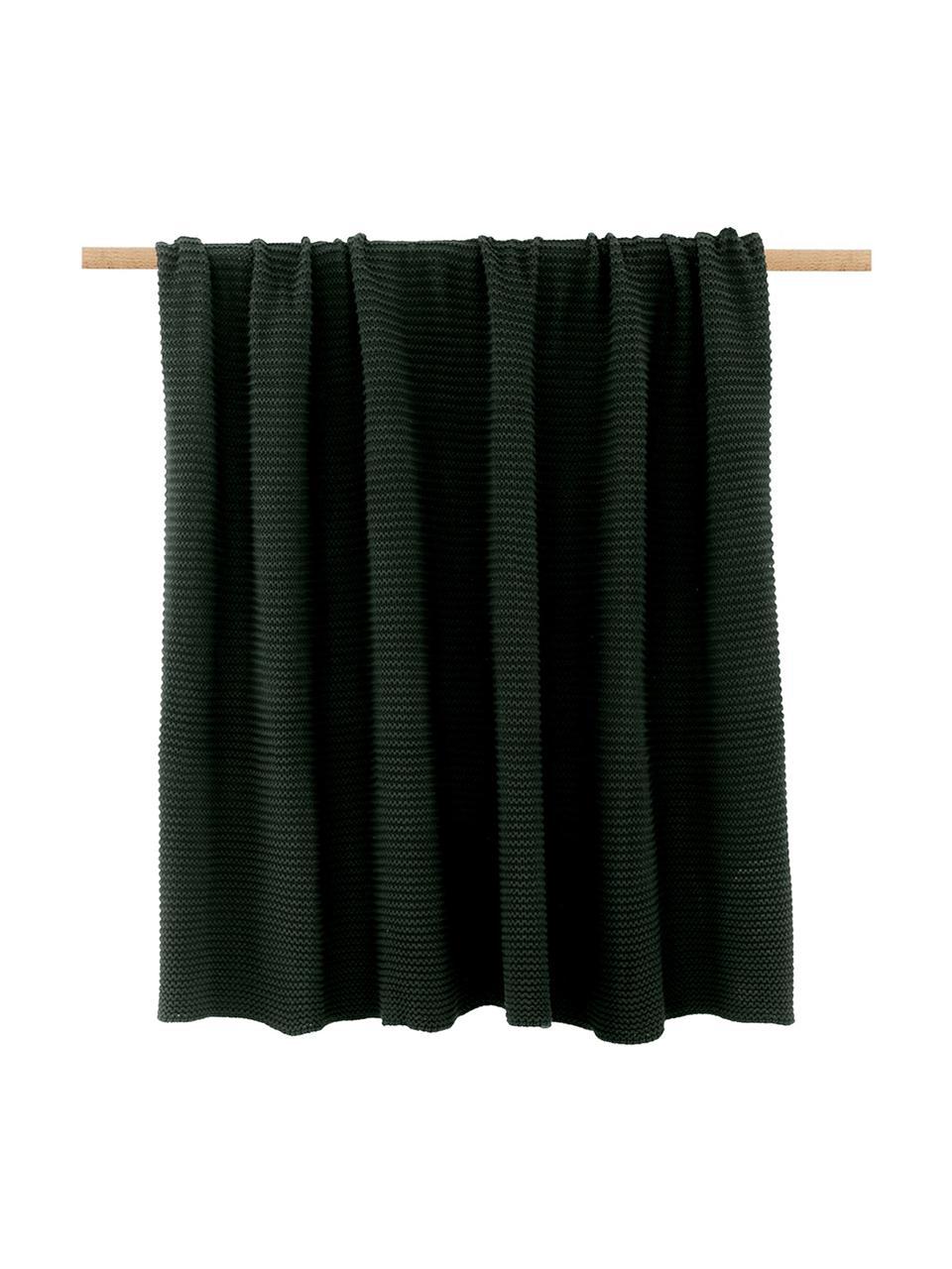 Strickdecke Adalyn aus Bio-Baumwolle in Dunkelgrün, 100% Bio-Baumwolle, GOTS-zertifiziert, Grün, 150 x 200 cm