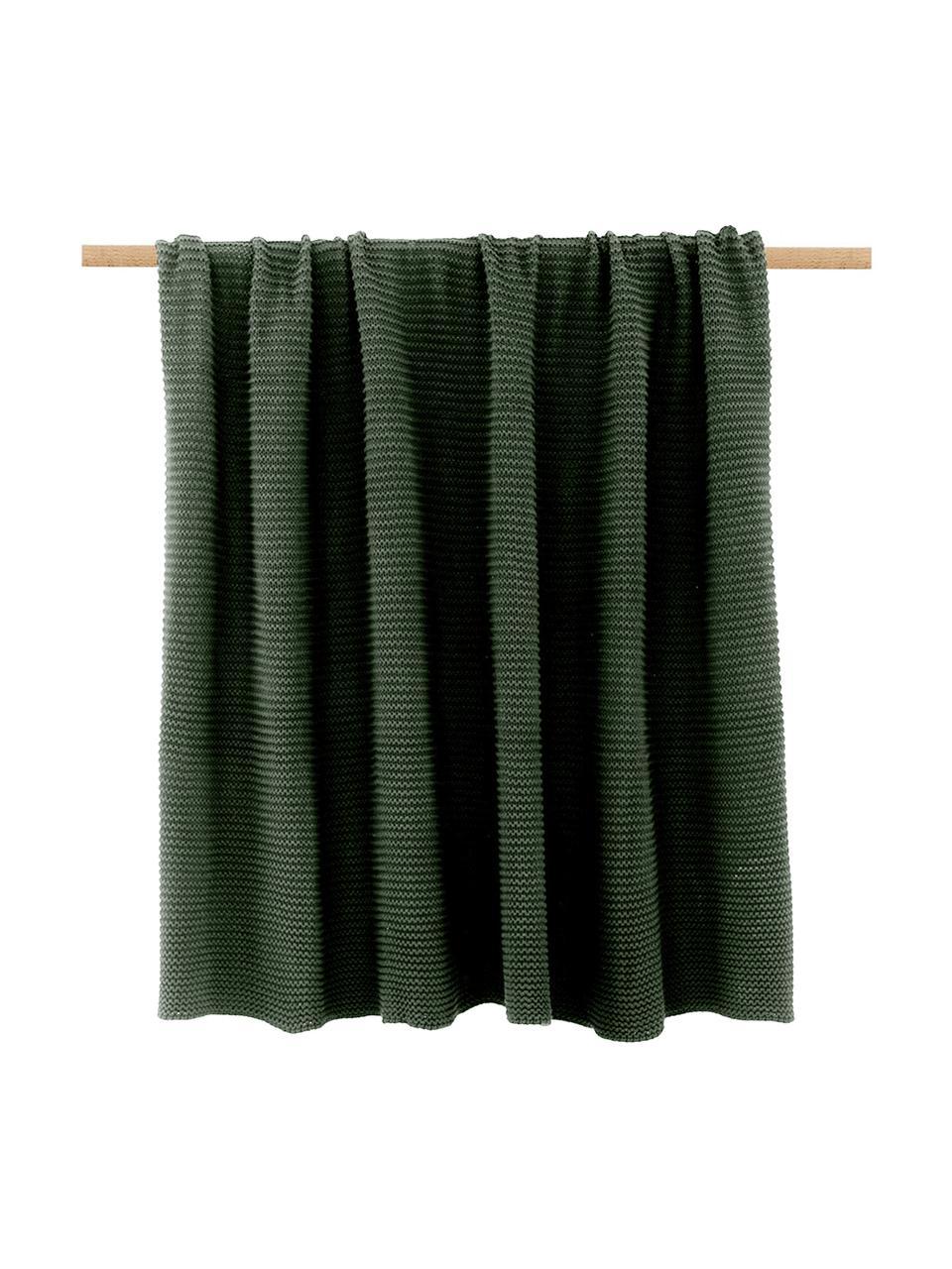 Plaid fatto a maglia in cotone biologico verde scuro Adalyn, 100% cotone biologico, certificato GOTS, Verde, Larg. 150 x Lung. 200 cm