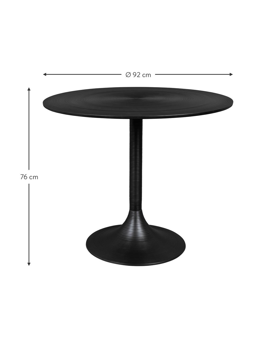 Okrągły stół do jadalni Hypnotising, Aluminium lakierowane, Czarny, Ø 92 x W 76 cm