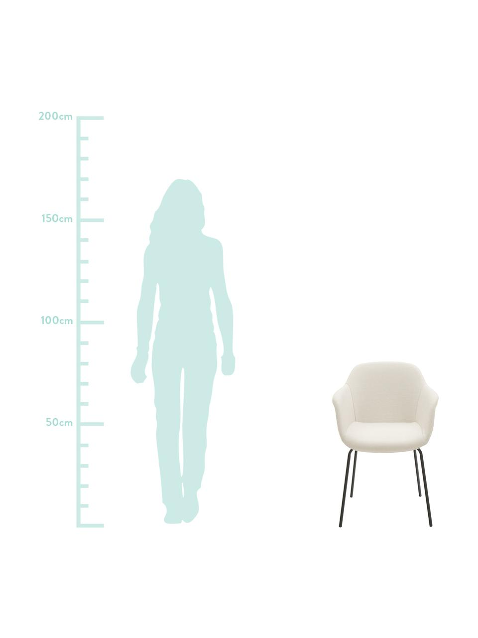 Krzesło z podłokietnikami z metalowymi nogami Fiji, Tapicerka: poliester Dzięki tkaninie, Nogi: metal malowany proszkowo, Siedzisko: kremowobiały Nogi: czarny, matowy, S 58 x G 56 cm