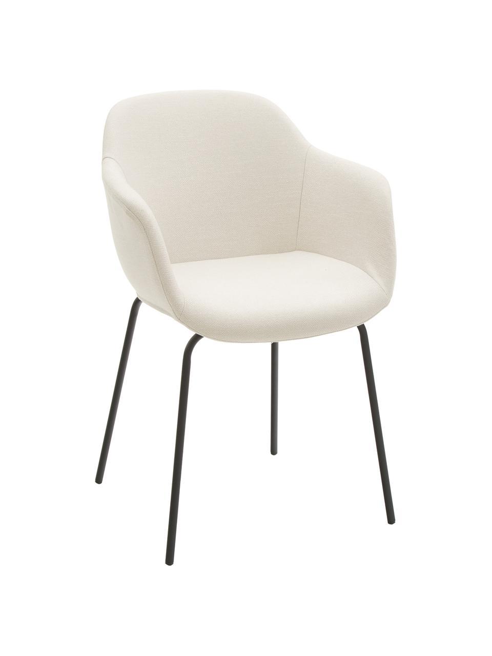 Chaise scandinave Fiji, Coque: blanc crème Pieds: noir, mat