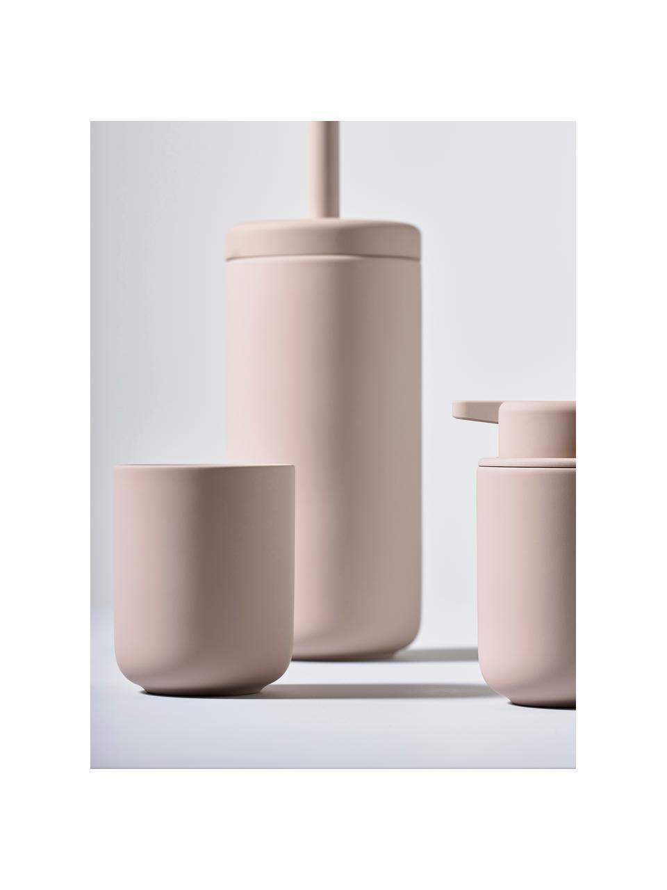 Dozownik do mydła z kamionki Omega, Blady różowy, matowy, Ø 8 x W 13 cm