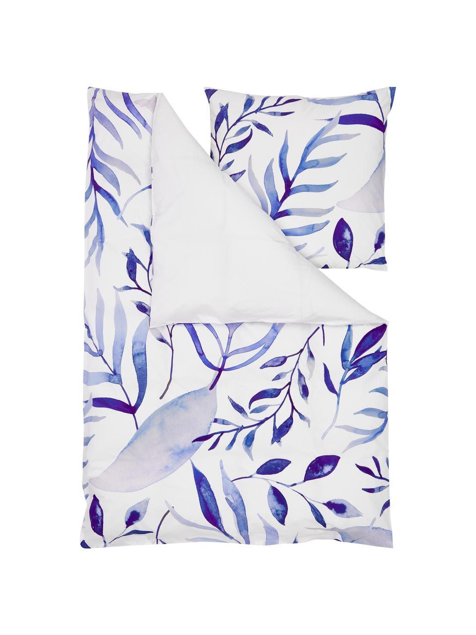 Pościel z perkalu Francine, Przód: niebieski, biały Tył: biały, 240 x 220 cm + 2 poduszki 80 x 80 cm