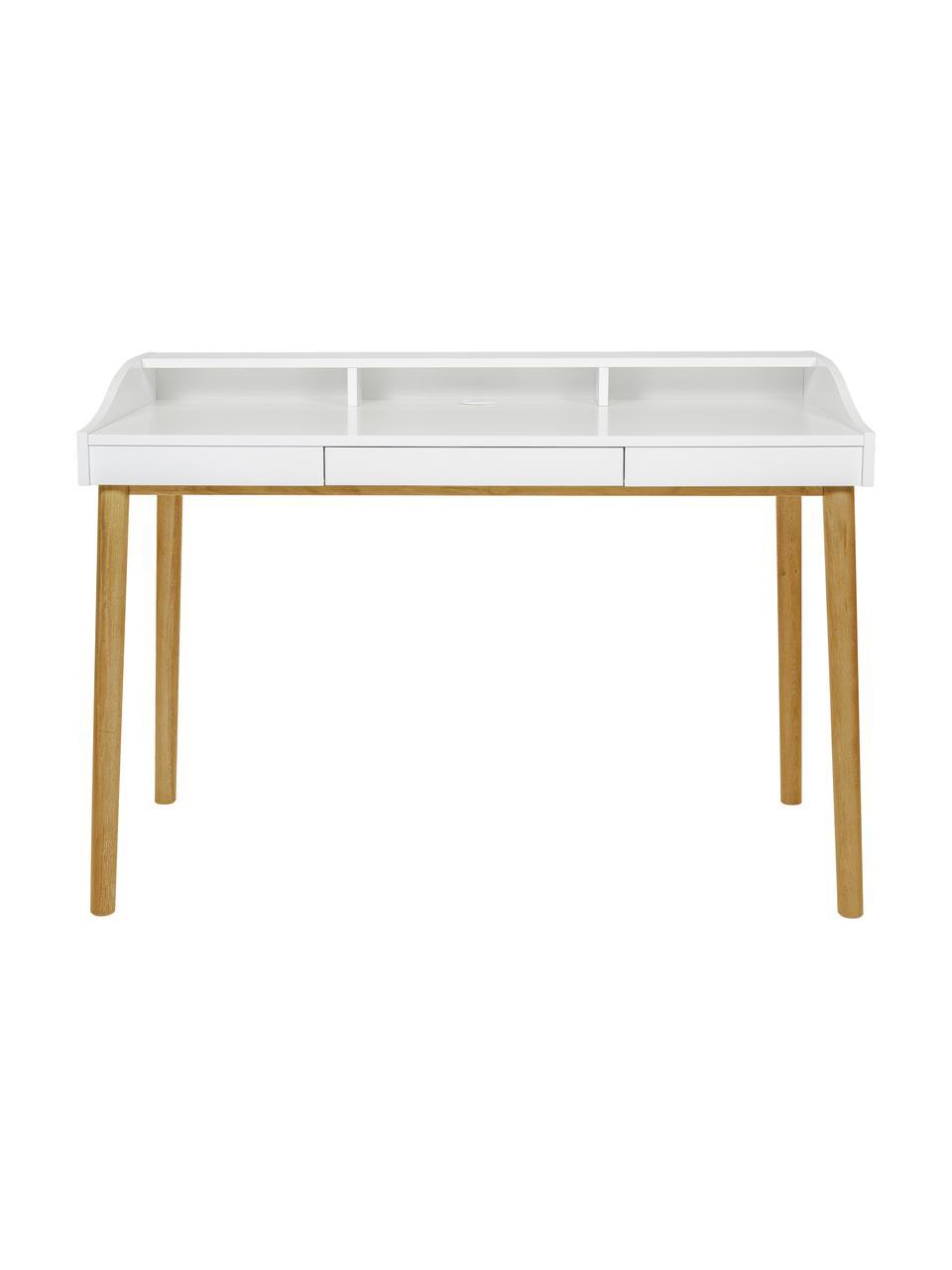 Schreibtisch Lindenhof mit kleiner Schublade, Beine: Eichenholz, lackiert, Tischplatte und Ablage: Weiß Beine: Eiche, B 120 x T 60 cm