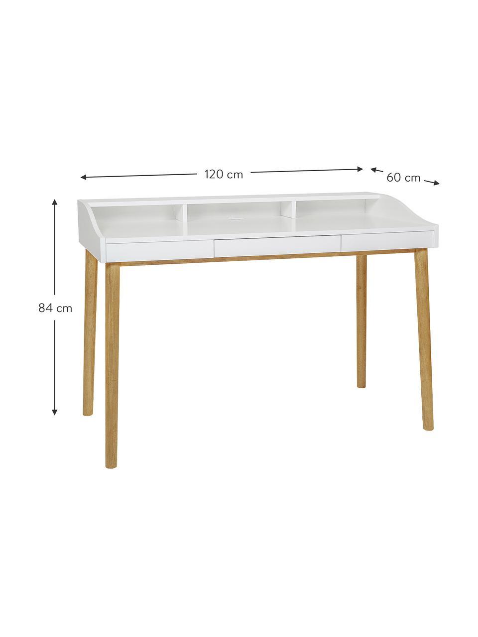 Bureau scandinave avec tiroir Lindenhof, Plateau et étagères: blanc Pieds: chêne