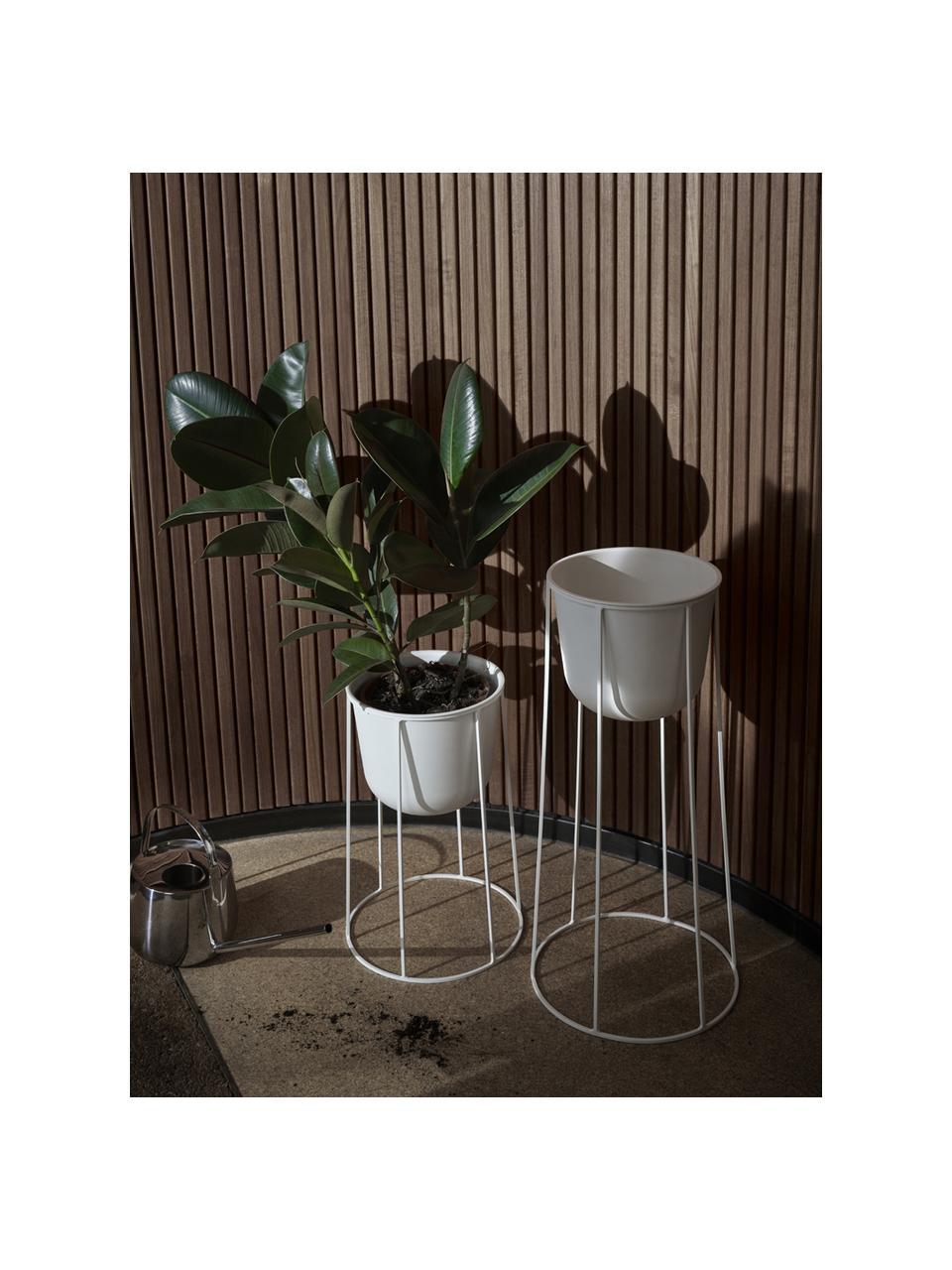Grote plantenpot Wire Pot van staal, Staal, poedergecoat, Wit, Ø 23 x H 17 cm