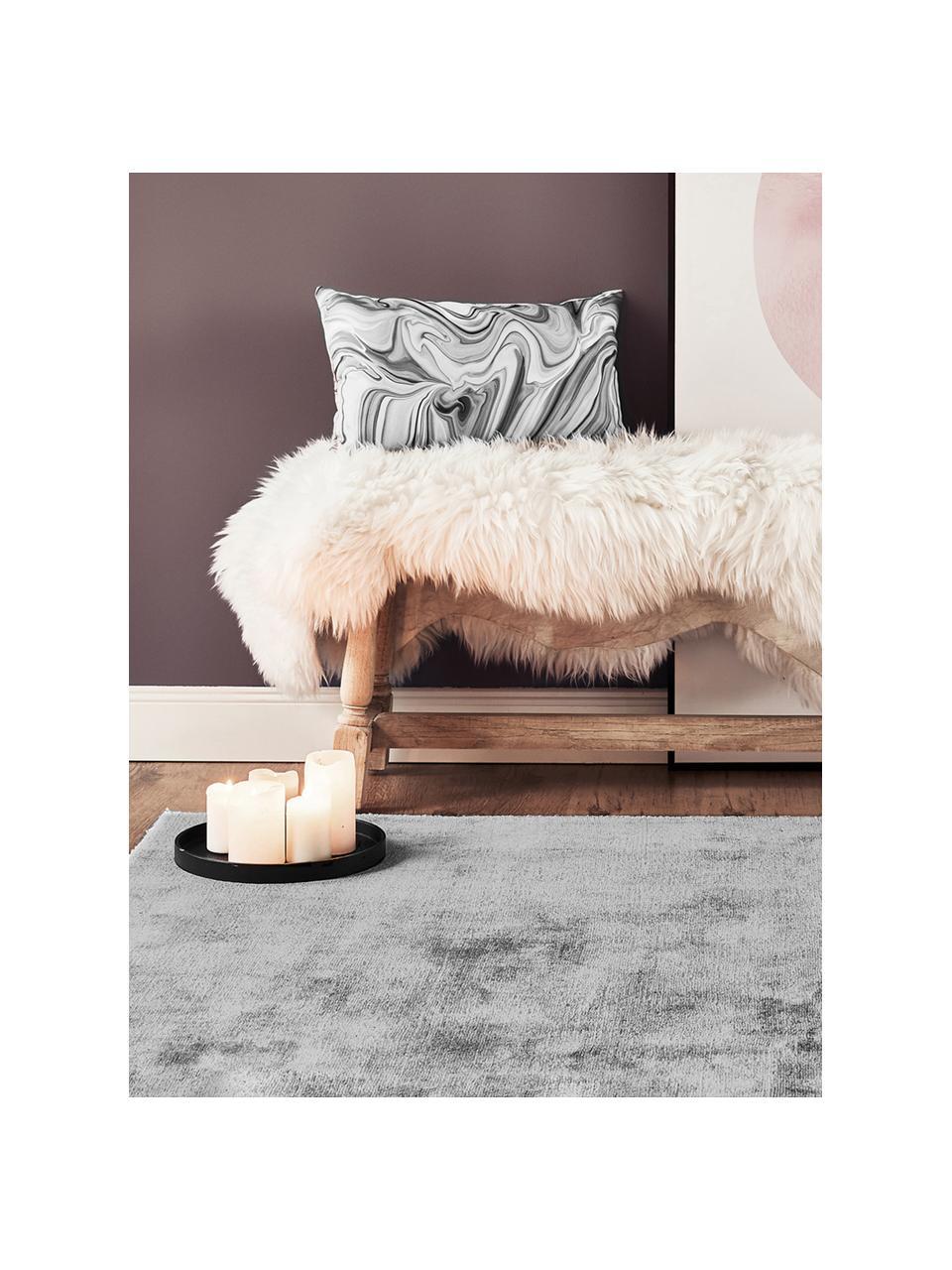 Tappeto in viscosa color grigio tessuto a mano Jane, Retro: 100% cotone, Grigio, Larg.160 x Lung. 230 cm  (taglia M)