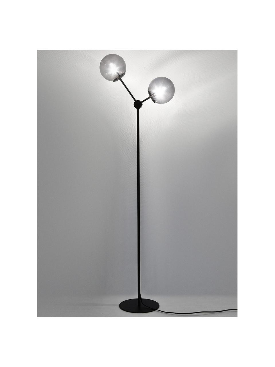 Industrial-Stehlampe Aurelia in Schwarz, Lampenfuß: Metall, pulverbeschichtet, Schwarz, Grau, Ø 17 x H 155 cm