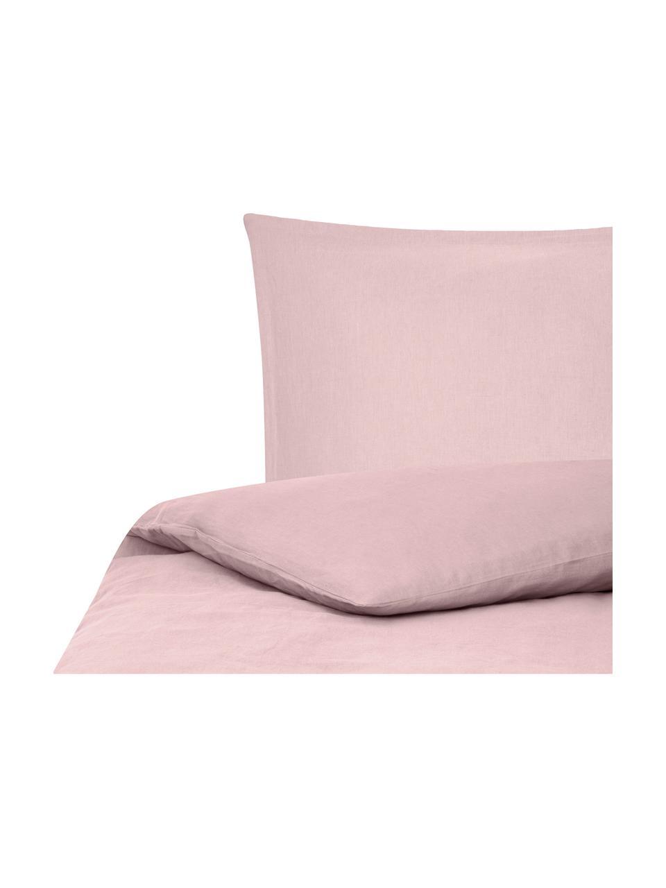 Pościel z lnu z efektem sprania Nature, Blady różowy, 240 x 220 cm + 2 poduszki 80 x 80 cm