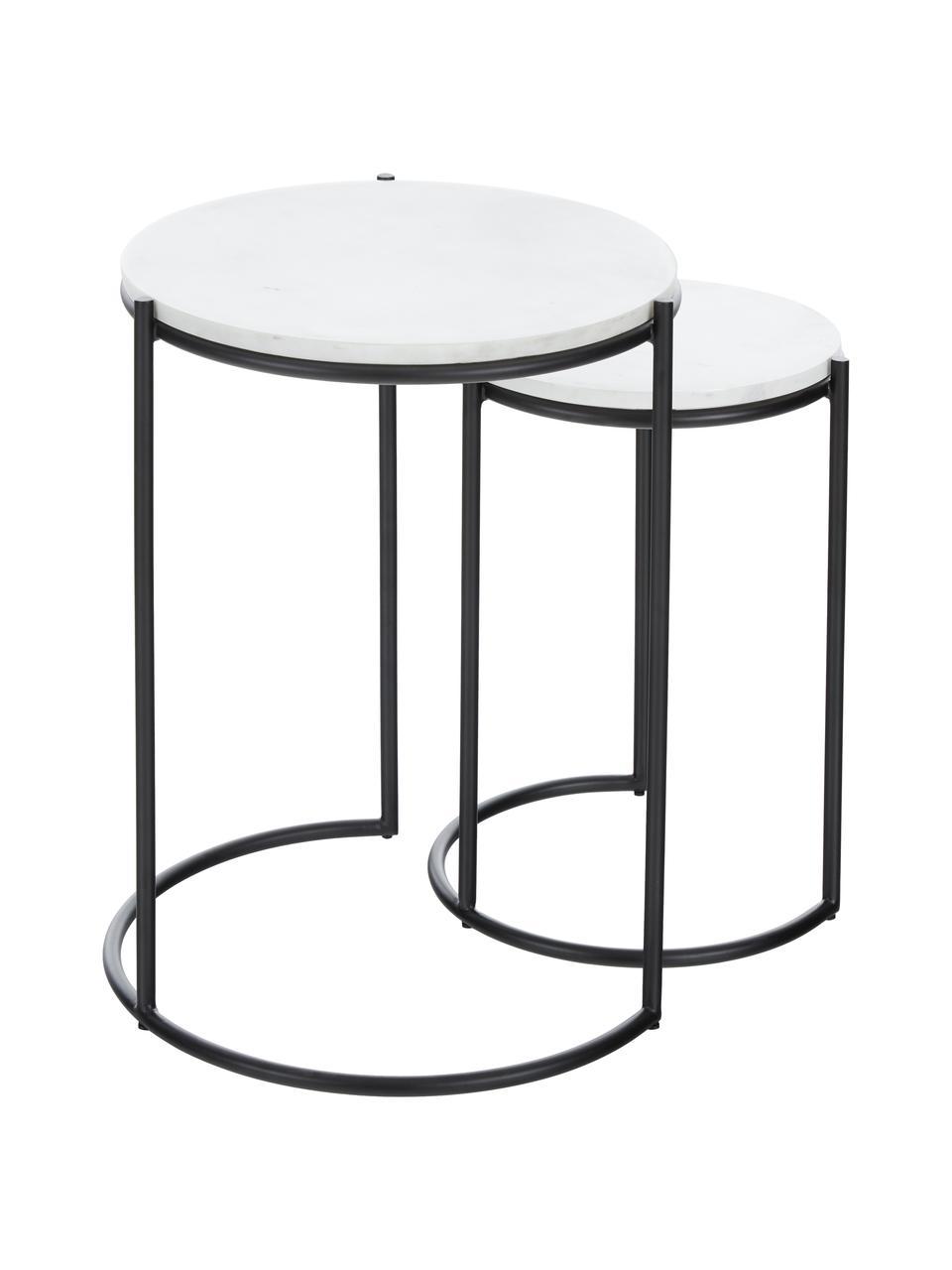 Marmor-Beistelltisch-Set Ella, 2-tlg., Tischplatten: Weißer MarmorGestelle: Schwarz, matt, Sondergrößen