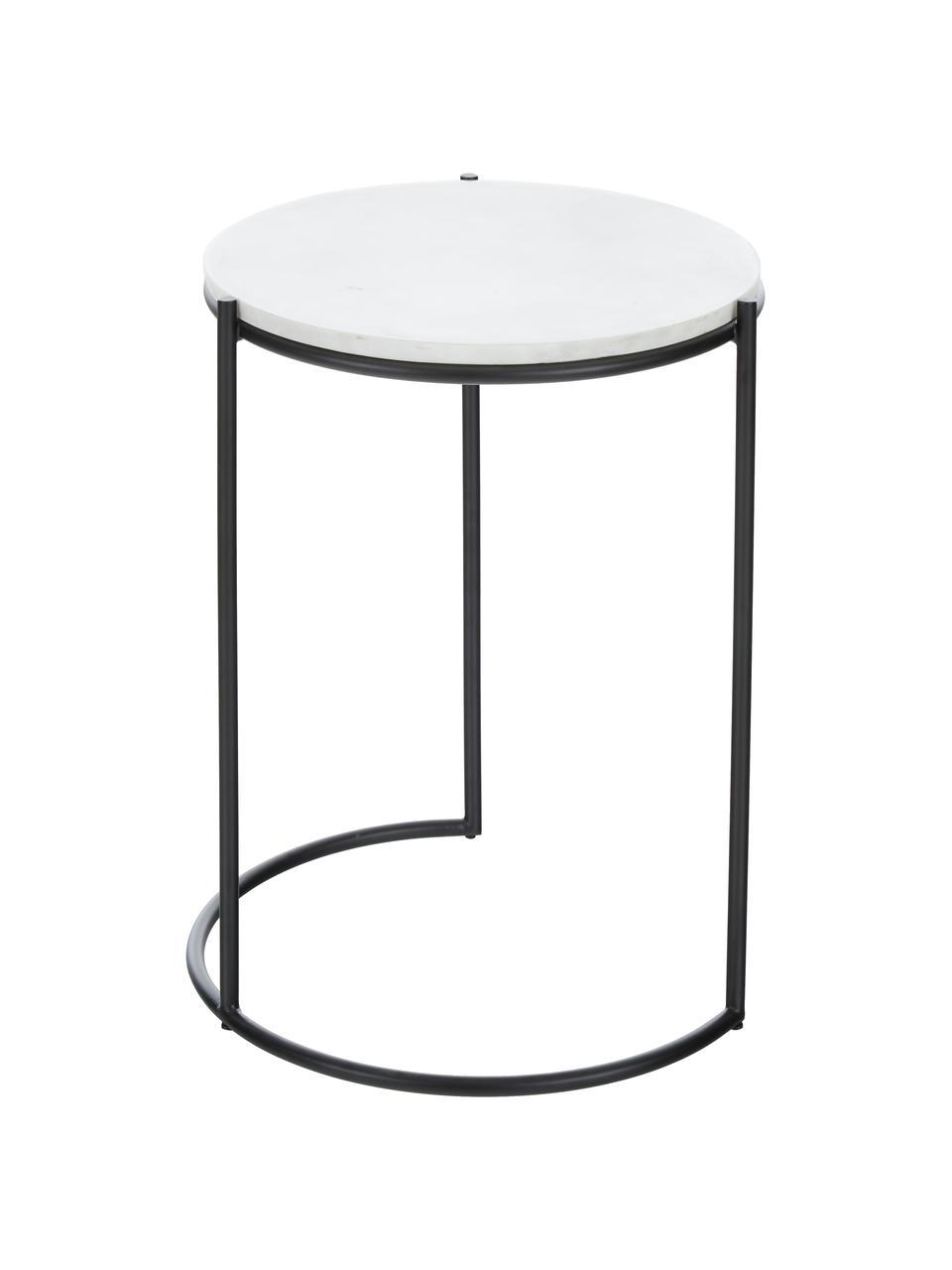 Marmor-Beistelltisch-Set Ella, 2-tlg., Weißer Marmor, Schwarz, Sondergrößen
