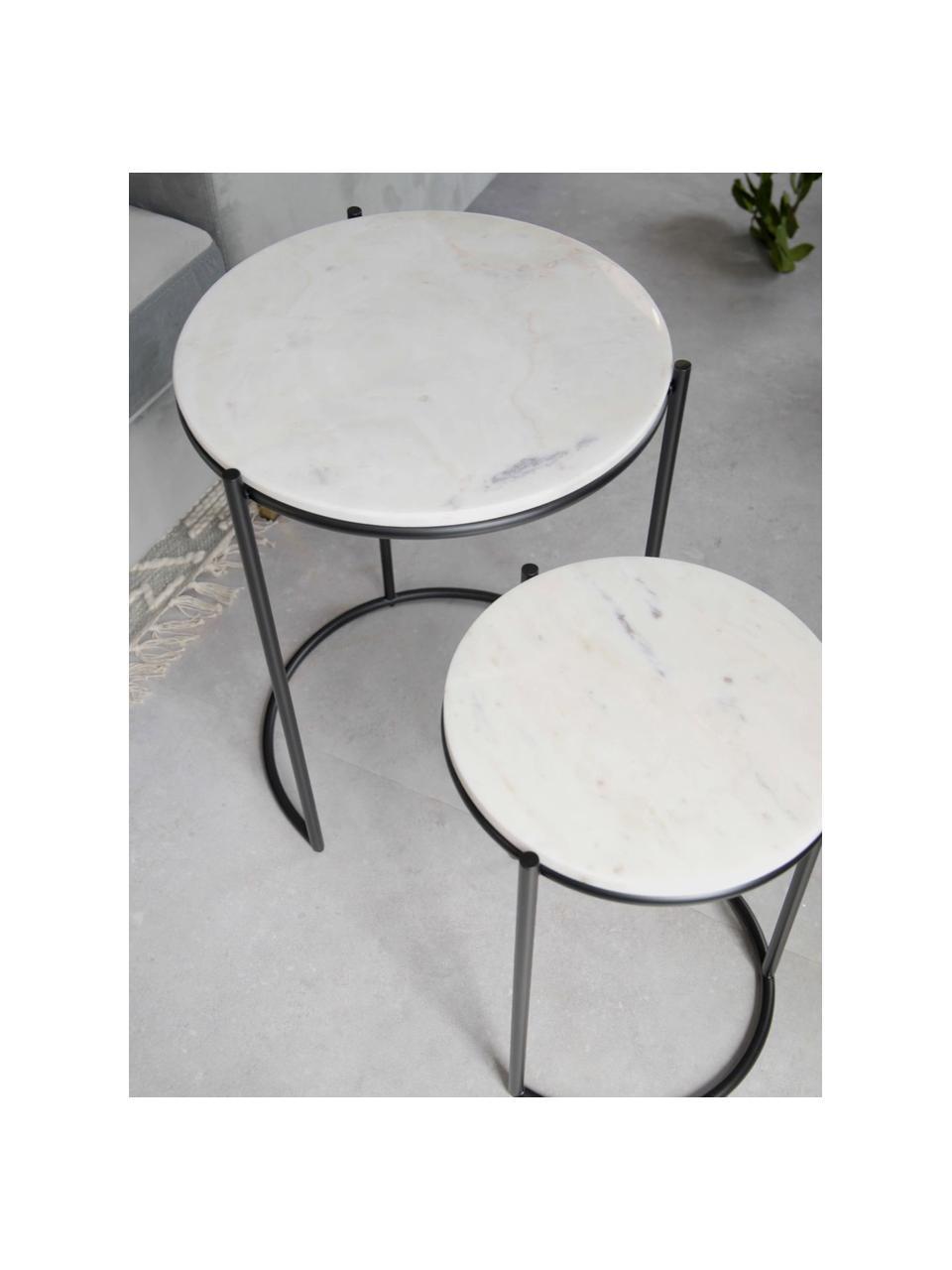 Tables gigognes en marbre Ella, 2élém., Plateaux: marbre blanc Cadres: noir, mat