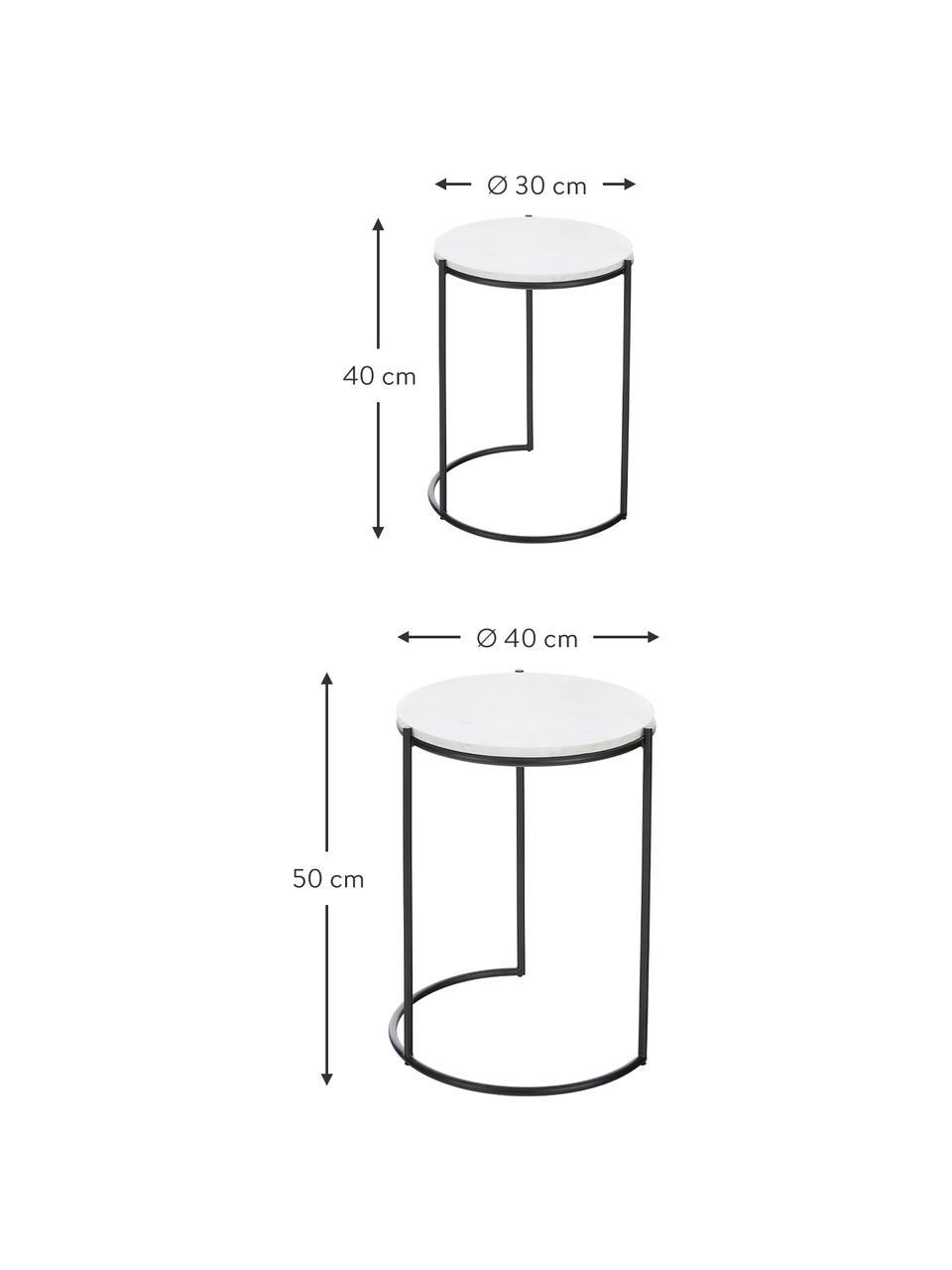 Marmeren bijzettafelset Ella, 2-delig, Frame: gepoedercoat metaal, Tafelbladen: wit marmer. Frame: mat zwart, Set met verschillende formaten