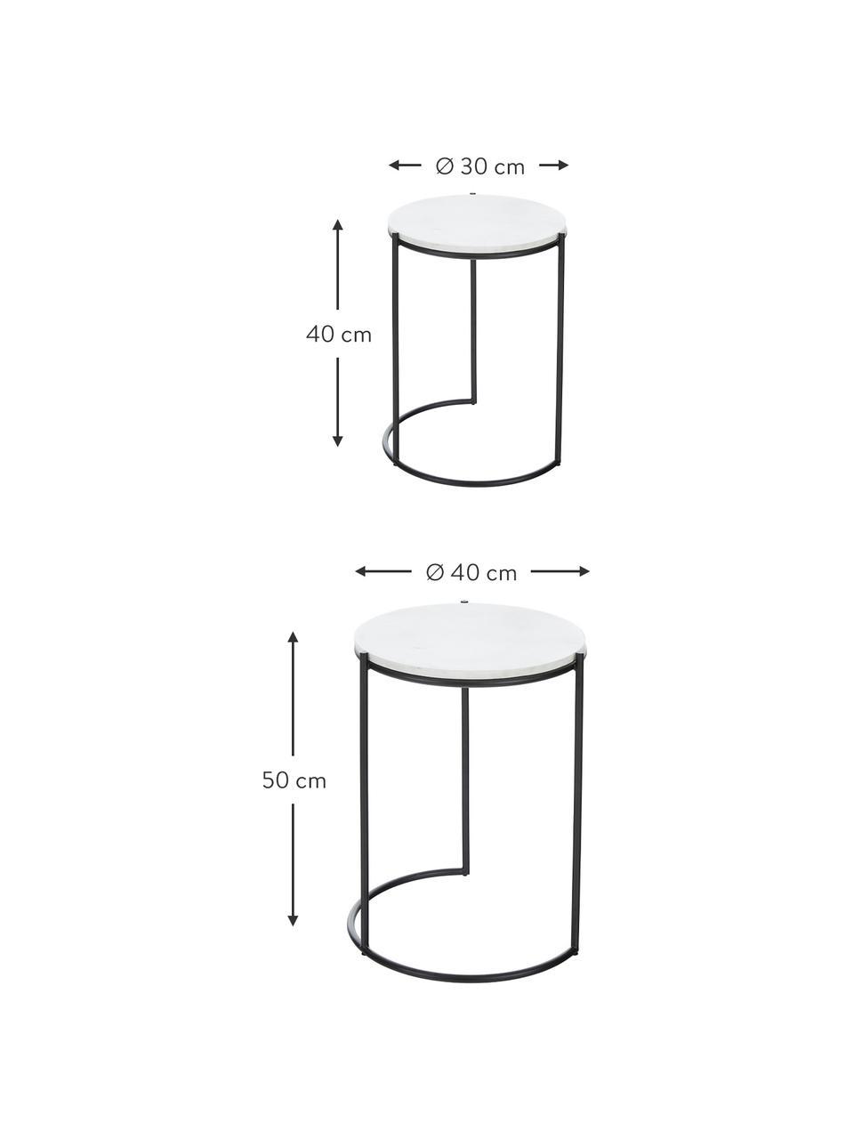 Komplet stolików pomocniczych z marmuru Ella, 2 elem., Biały marmur, czarny, Komplet z różnymi rozmiarami