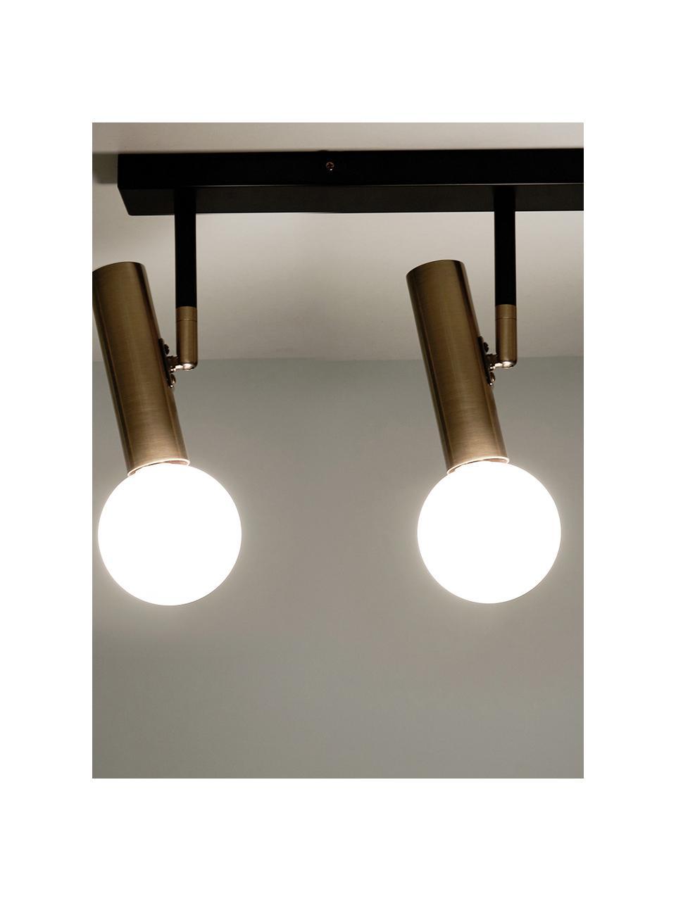 Plafondlamp Wilson in zwart-goudkleur, Baldakijn: gepoedercoat metaal, Baldakijn: mat zwart. Fittingen: messingkleurig. Lampenkappen: wit, 65 x 31 cm