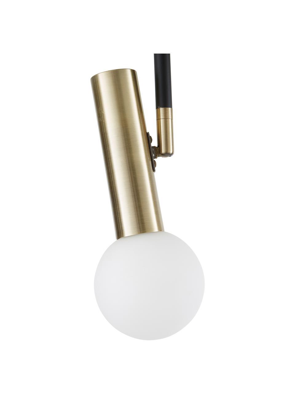 Deckenleuchte Wilson in Schwarz-Gold, Baldachin: Metall, pulverbeschichtet, Baldachin: Schwarz, mattFassungen: MessingfarbenLampenschirme: Weiß, 65 x 31 cm