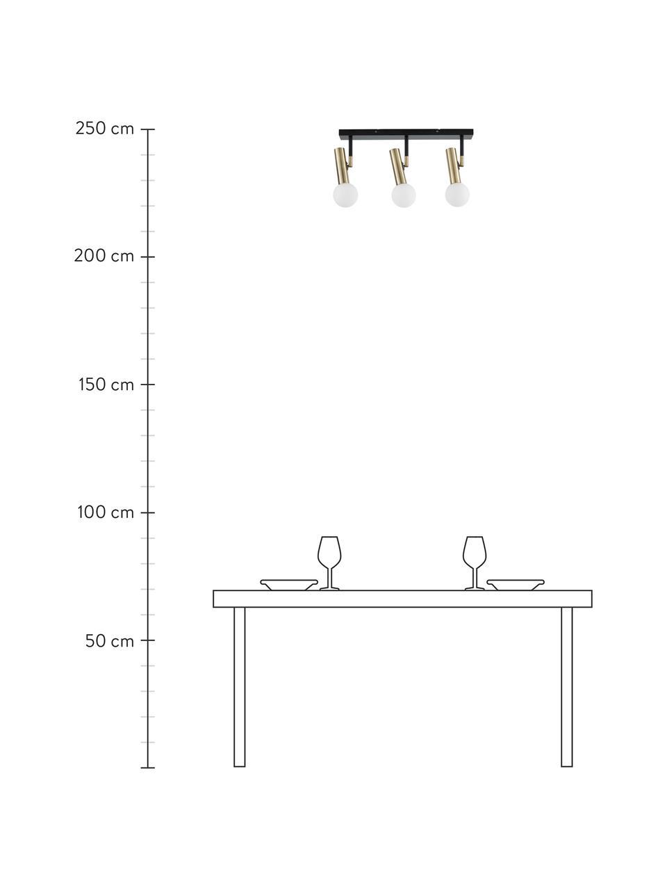 Lampa sufitowa Wilson, Osłona mocowania sufitowego: czarny, matowy Oprawy: odcienie mosiądzu Klosz: bia, S 65 x W 31 cm