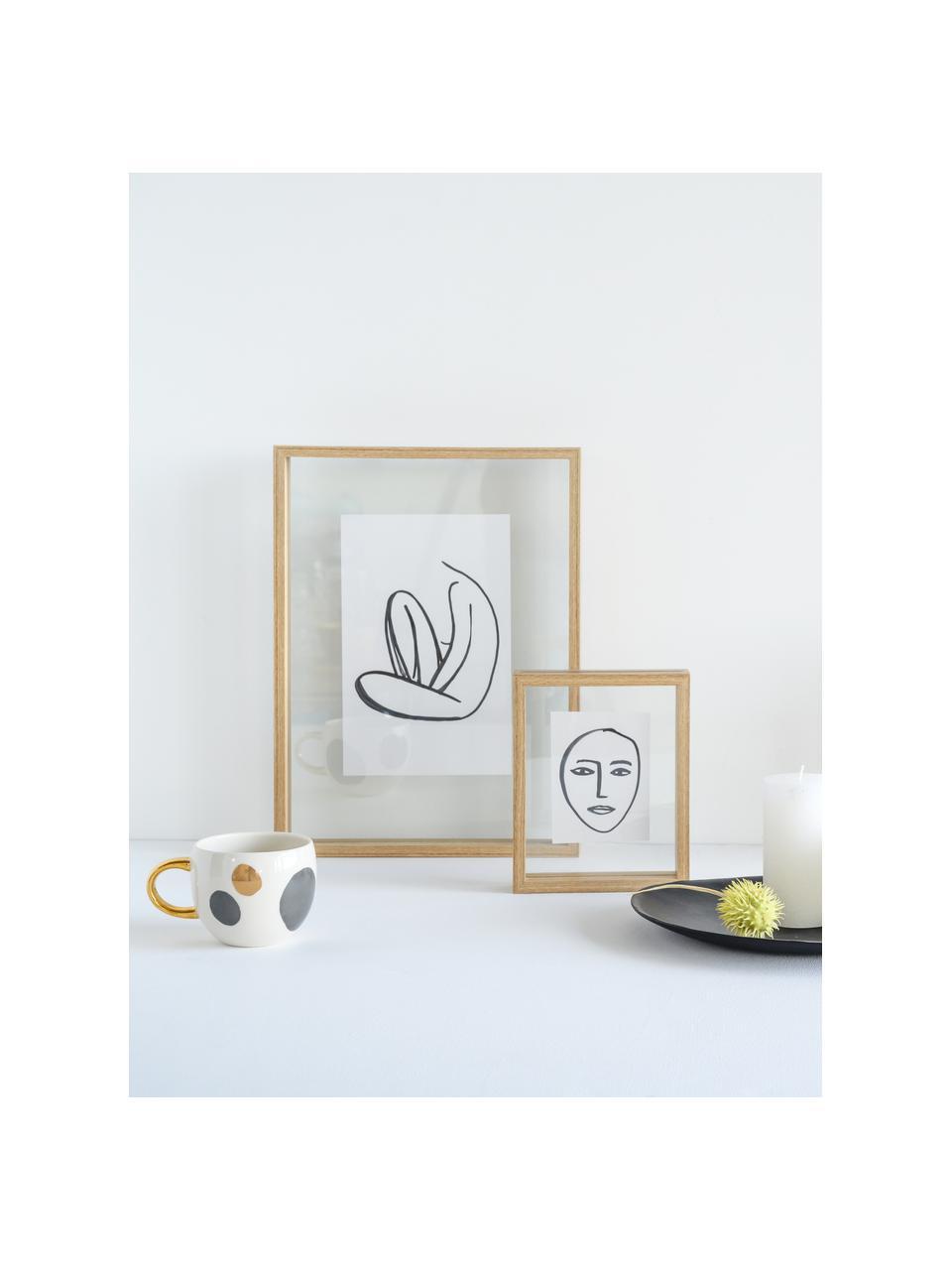 Gerahmter Digitaldruck Aesthetic, Rahmen: Mitteldichte Holzfaserpla, Bild: Papier, Braun, Weiß, Schwarz, 30 x 45 cm