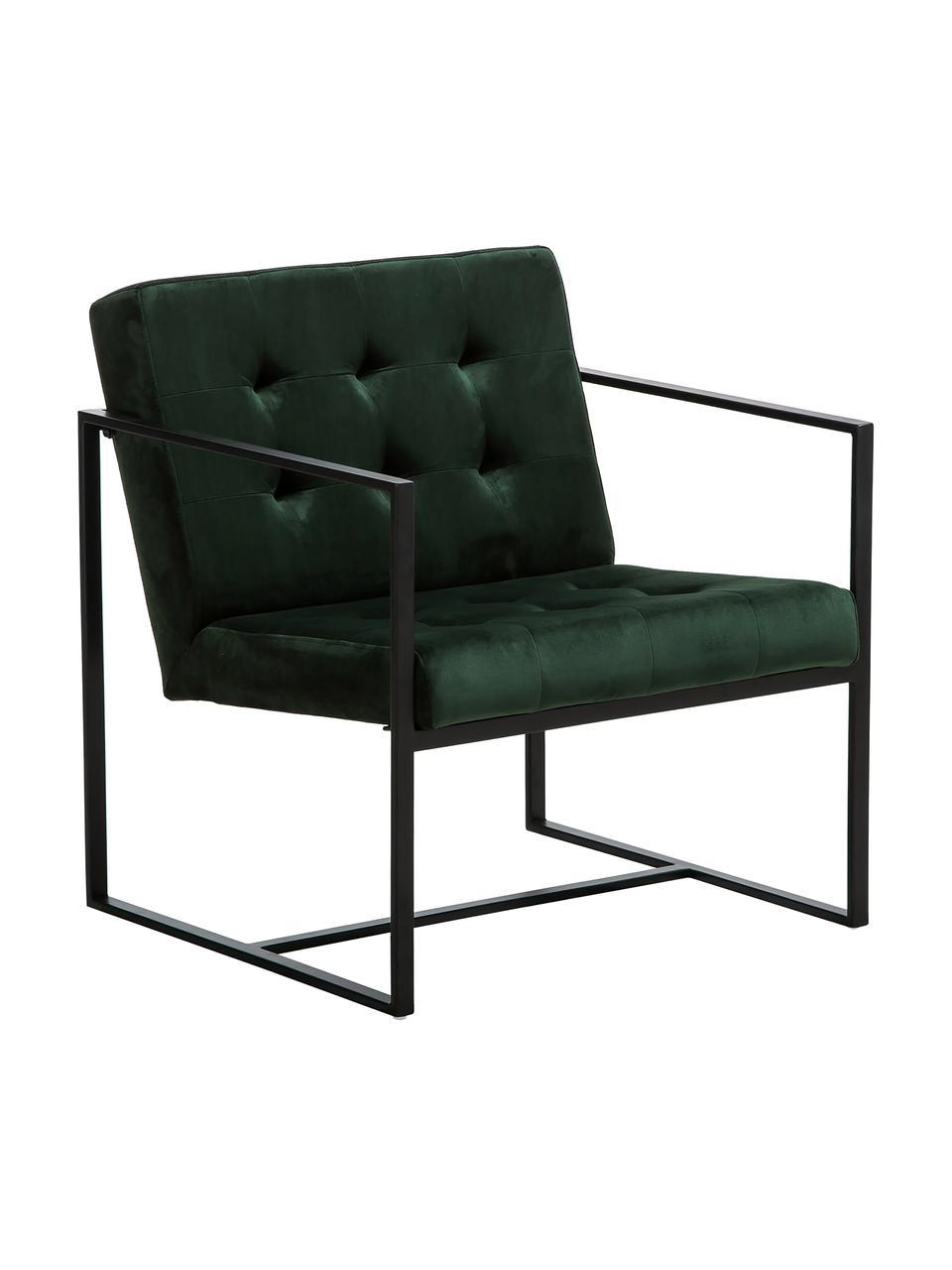 Sedia a poltrona in velluto Manhattan, Rivestimento: velluto (poliestere) 50.0, Struttura: metallo verniciato a polv, Velluto verde scuro, Larg. 70 x Prof. 72 cm