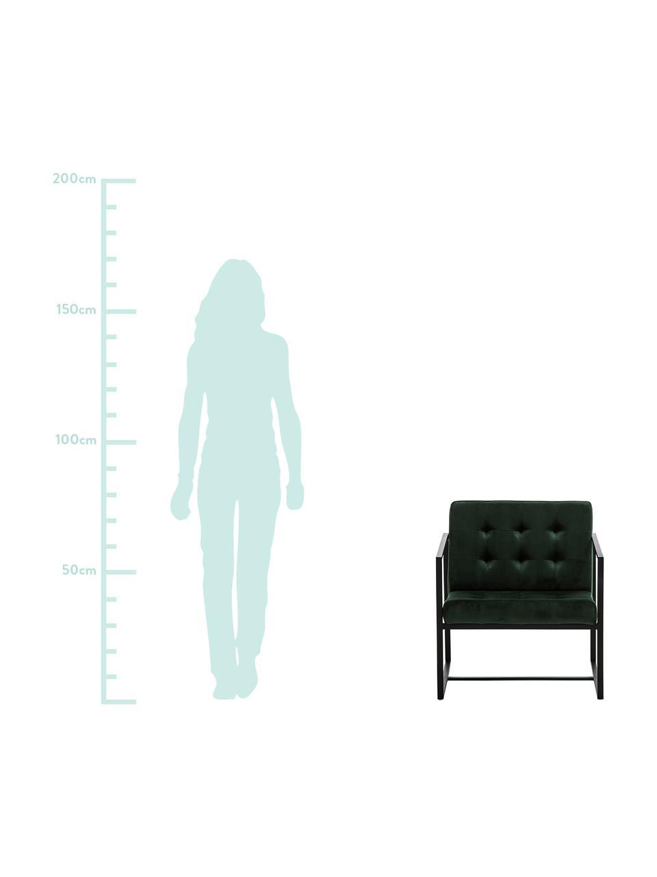 Samt-Loungesessel Manhattan in Dunkelgrün, Bezug: Samt (Polyester) Der hoch, Gestell: Metall, pulverbeschichtet, Samt Dunkelgrün, B 70 x T 72 cm