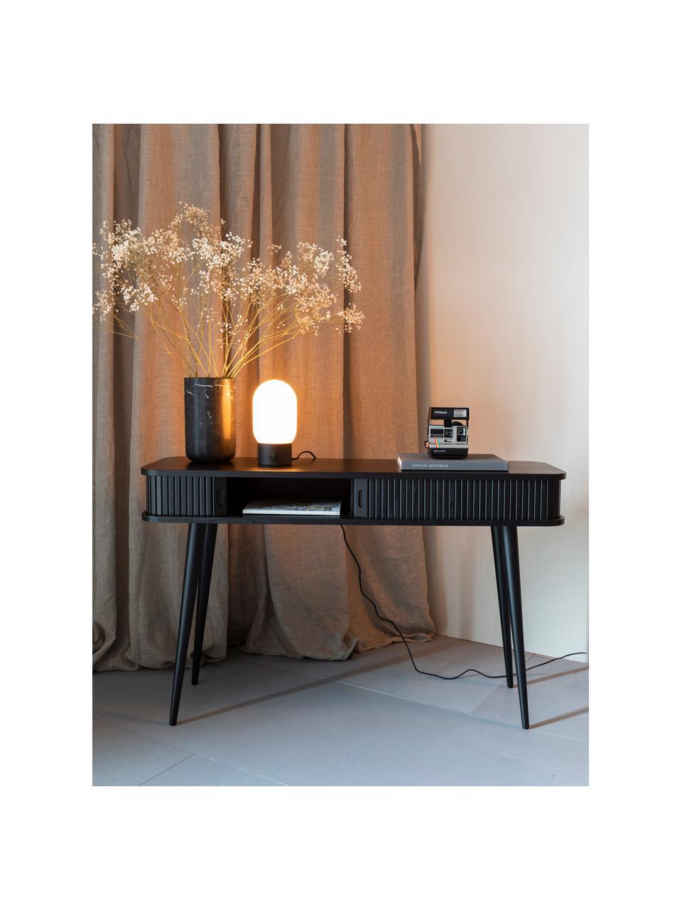 Lampada da tavolo con porta USB Urban, Paralume: vetro opale, Base della lampada: metallo rivestito, Nero, bianco, Ø 13 x Alt. 25 cm