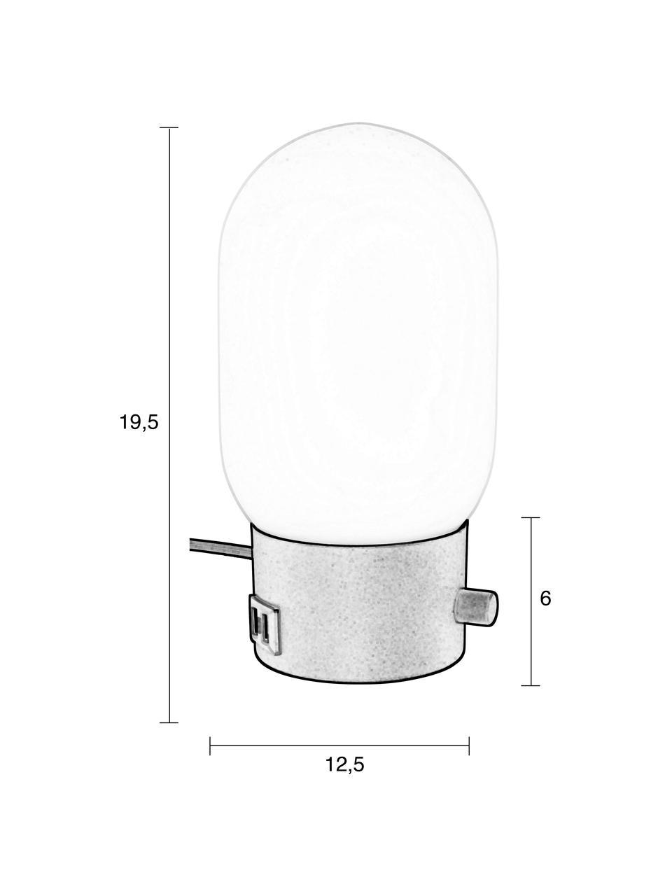 Kleine Dimmbare Nachttischlampe Urban mit USB-Anschluss, Lampenschirm: Opalglas, Lampenfuß: Metall, beschichtet, Schwarz, Weiß, Ø 13 x H 25 cm