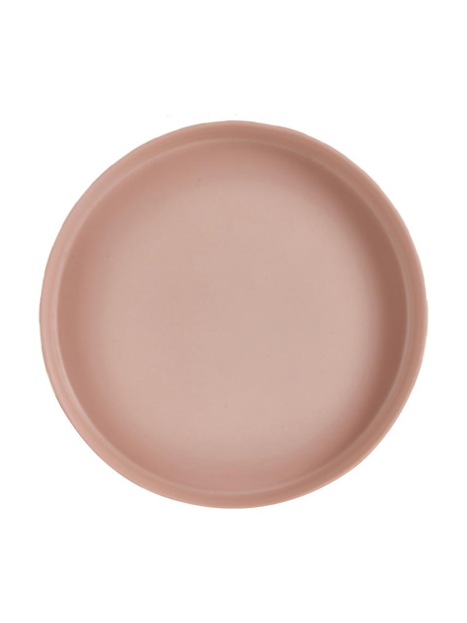 Keramik Servierplatte Toppu im Streifendesign, Ø 20 cm, Keramik, Karamellbraun, Rosa, Ø 20 x H 9 cm