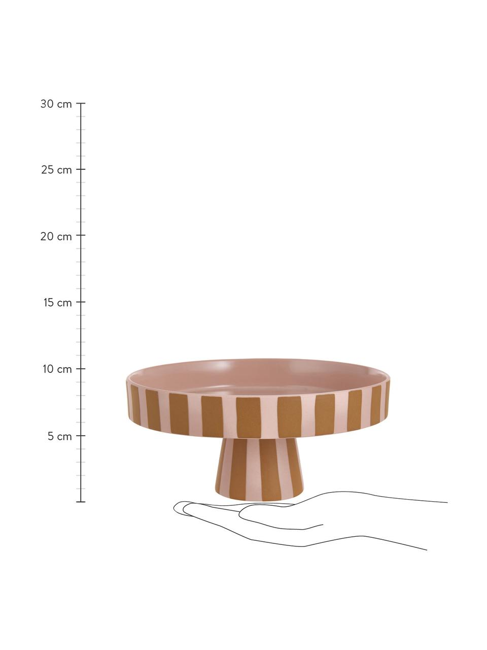 Keramisch serveerplateau Toppu in streeppatroon, Ø 20 cm, Keramiek, Karamelbruin, roze, Ø 20 x H 9 cm
