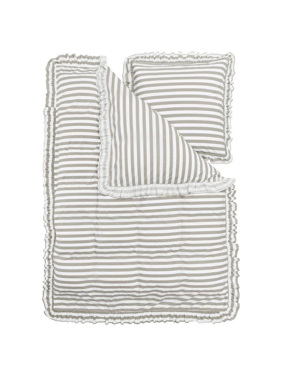 Gewaschene Baumwoll-Bettwäsche Averni mit Rüschen, gestreift, Webart: Perkal Fadendichte 200 TC, Beige, Weiß, 240 x 220 cm + 2 Kissen 80 x 80 cm