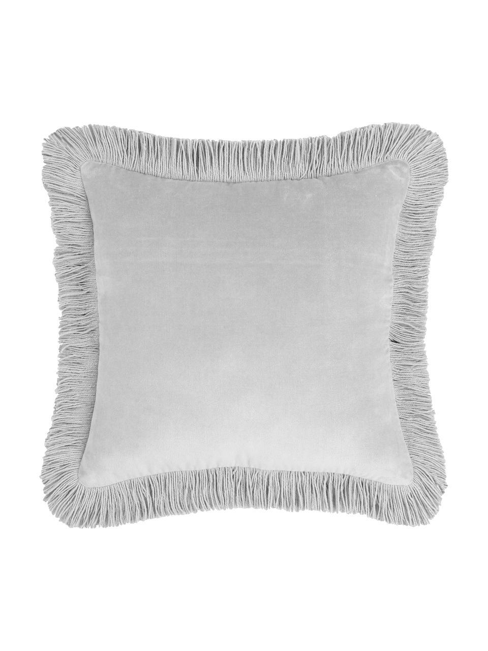 Fluwelen kussenhoes Phoeby in lichtgrijs met franjes, 100% katoen, Lichtgrijs, 40 x 40 cm